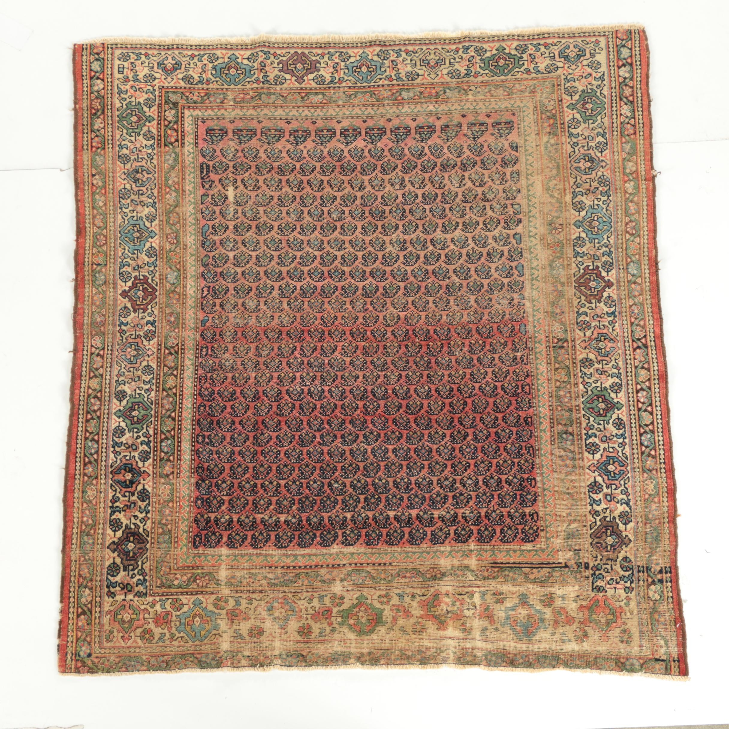 Vintage Hand-Knotted Persian Luri Wool Area Rug