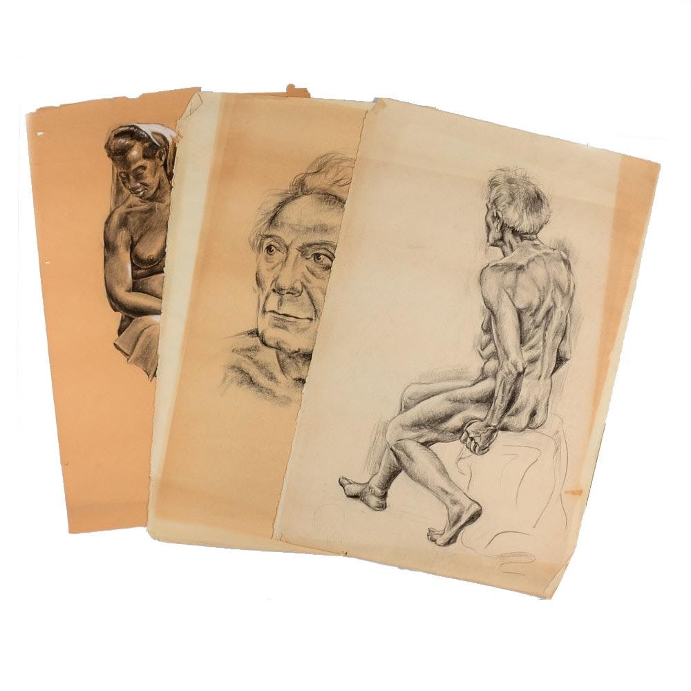 Three Howard John Besnia Vintage Charcoal Figure Sketches