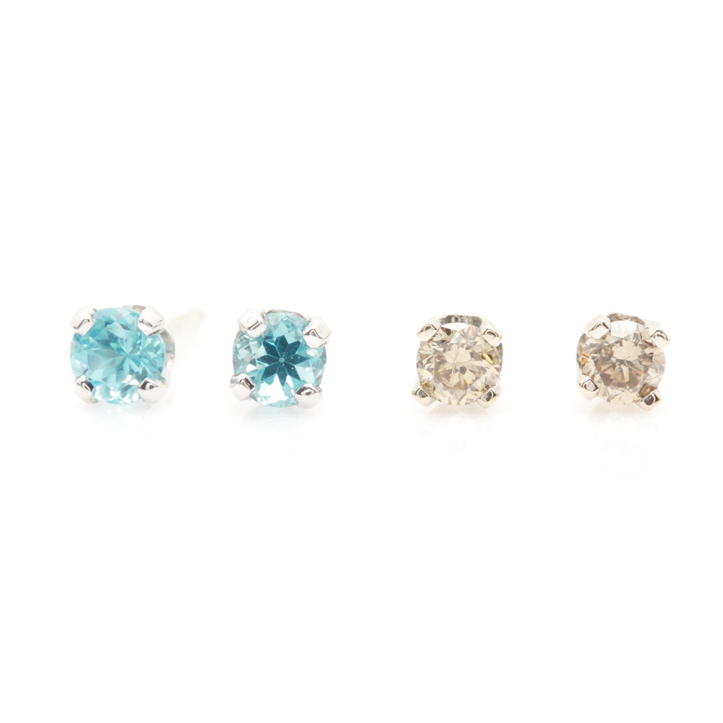 14K White Gold Diamond and Blue Topaz Stud Earrings