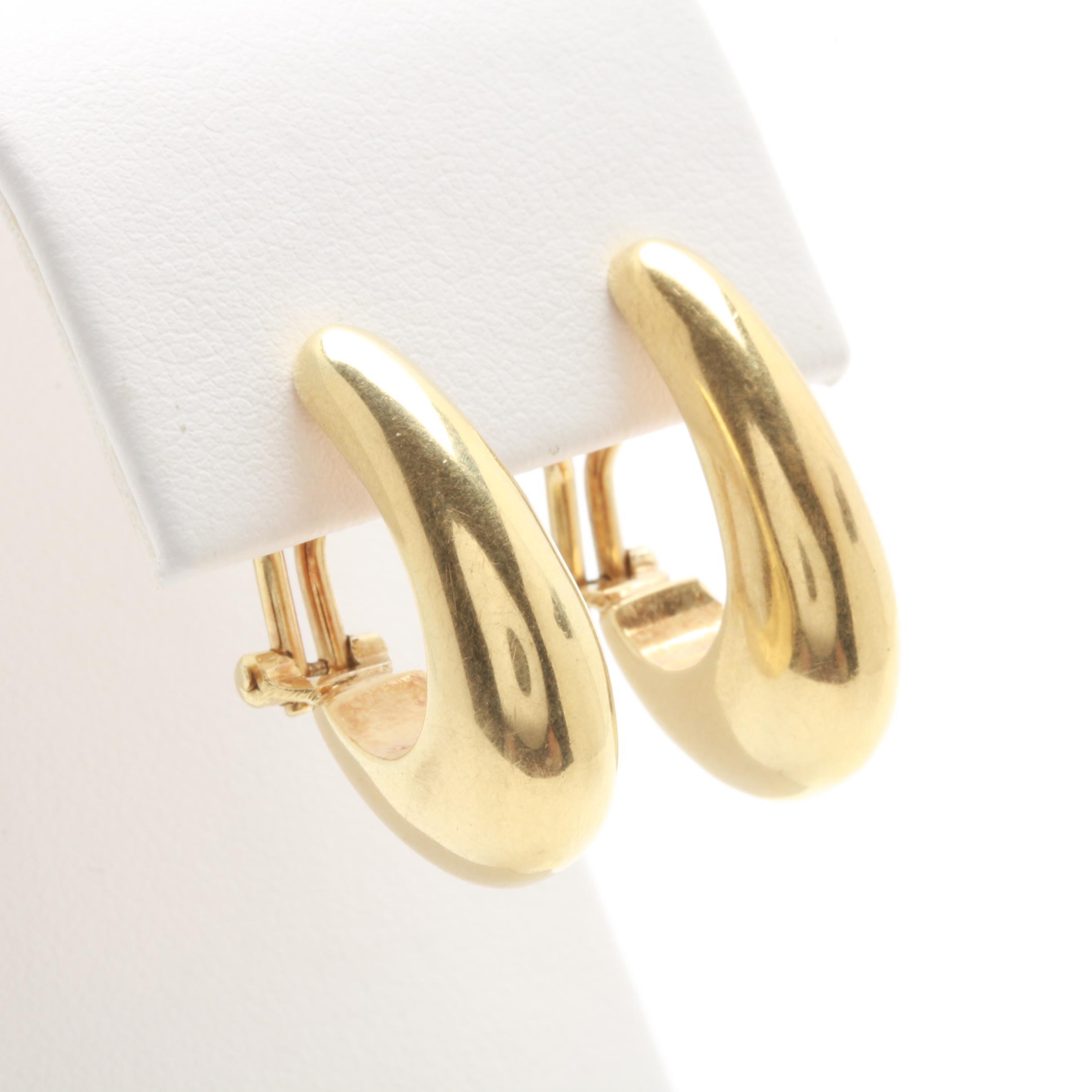 14K Yellow Gold J - Hoop Earrings
