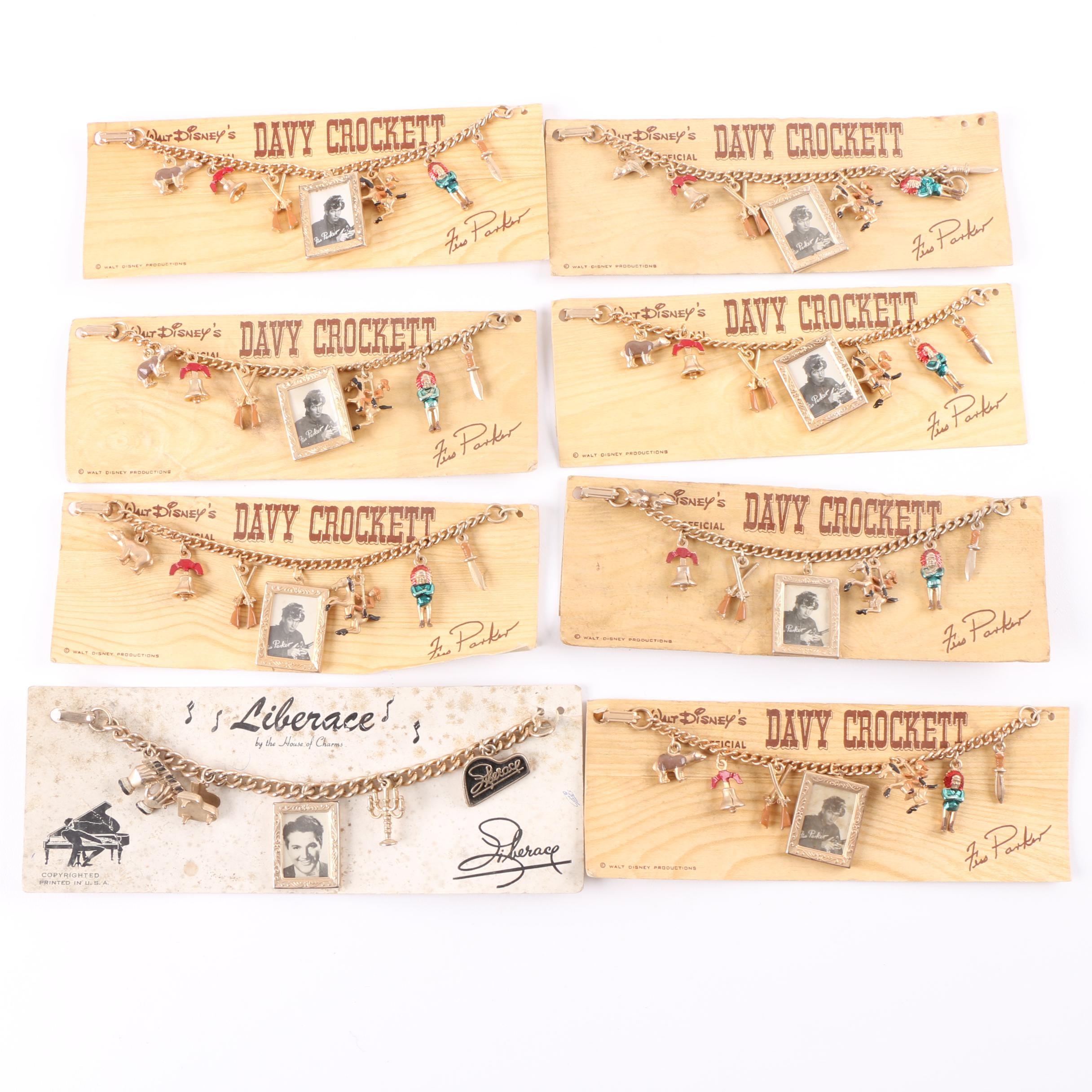 Vintage Collection of Walt Disney's Davy Crockett and Liberace Charm Bracelets