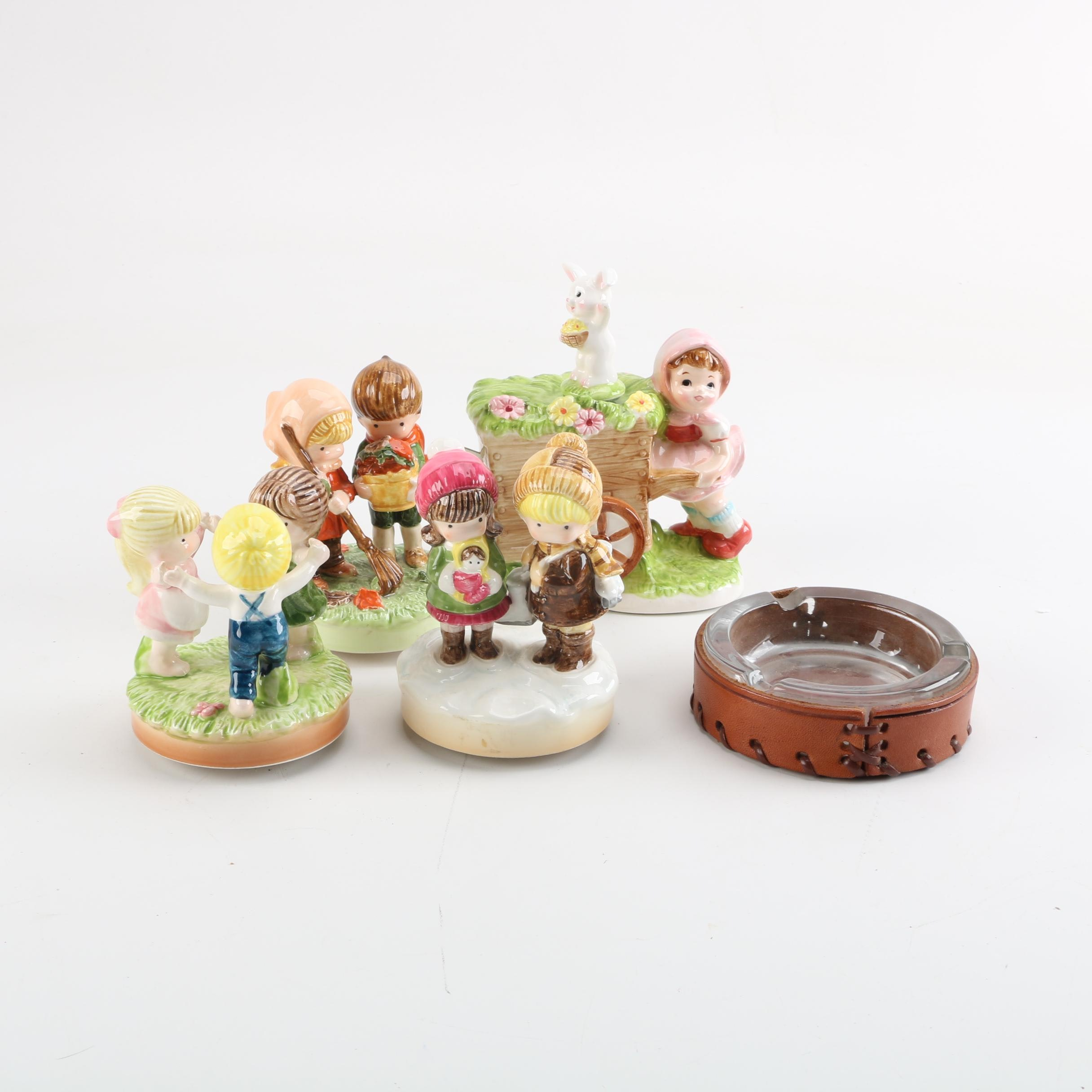 Figurines and Ash Receiver featuring Joan Walsh Anglund Music Boxes
