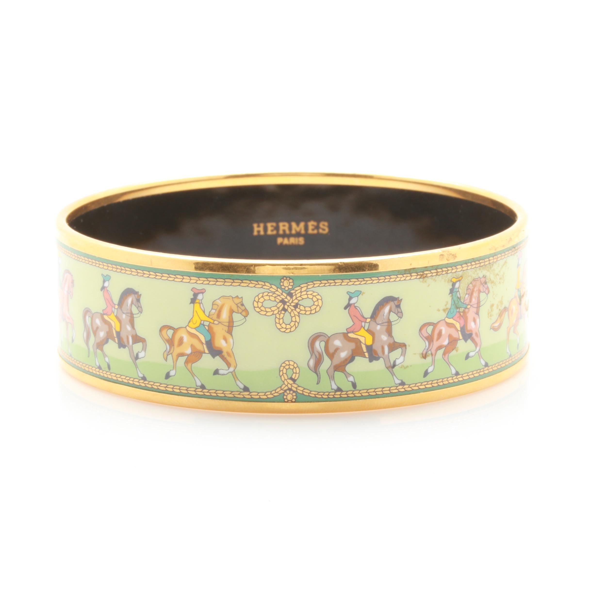 Hermes Gold Tone Equestrian Bangle Bracelet