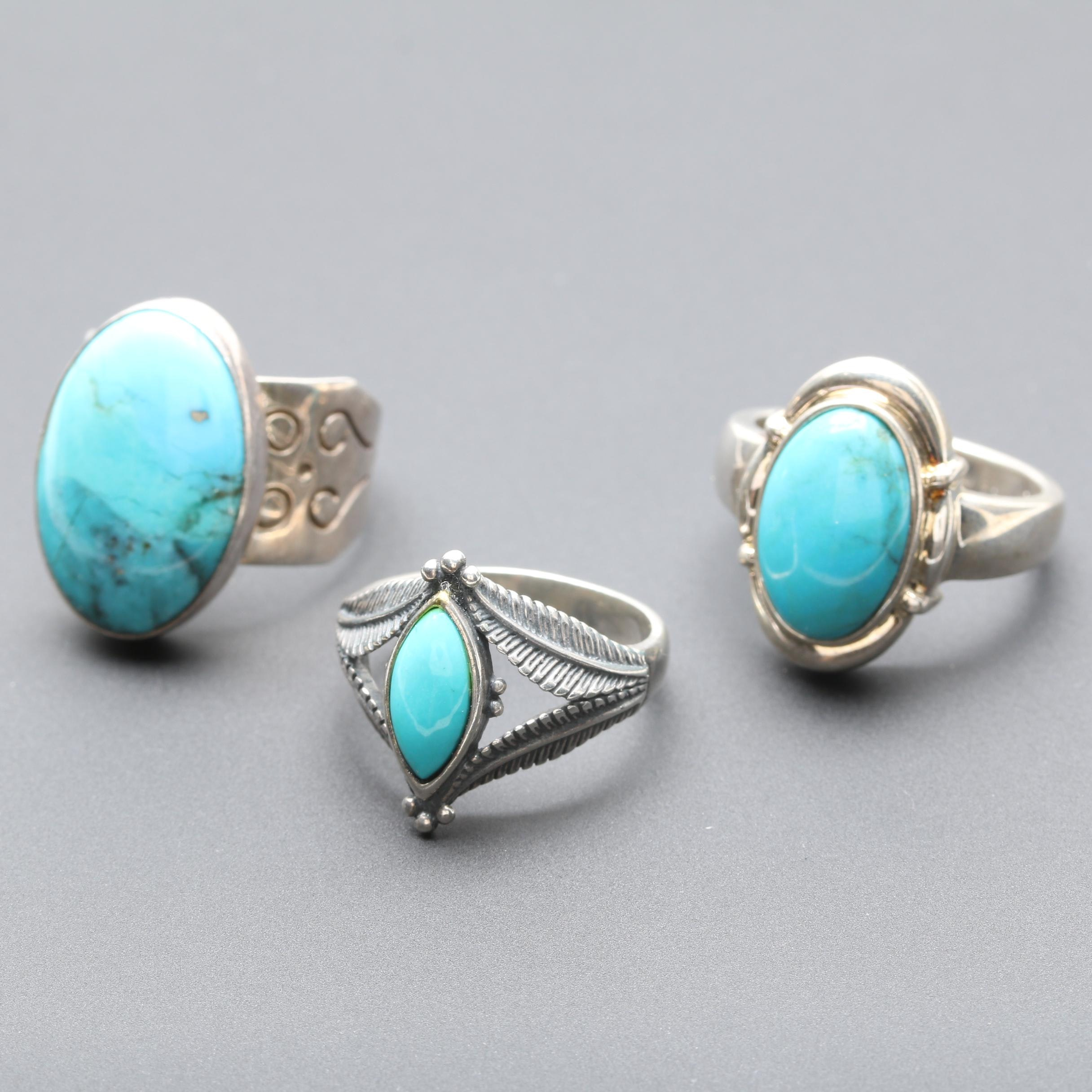 Sterling Silver Turquoise Rings Including Relios and Desert Rose Trading