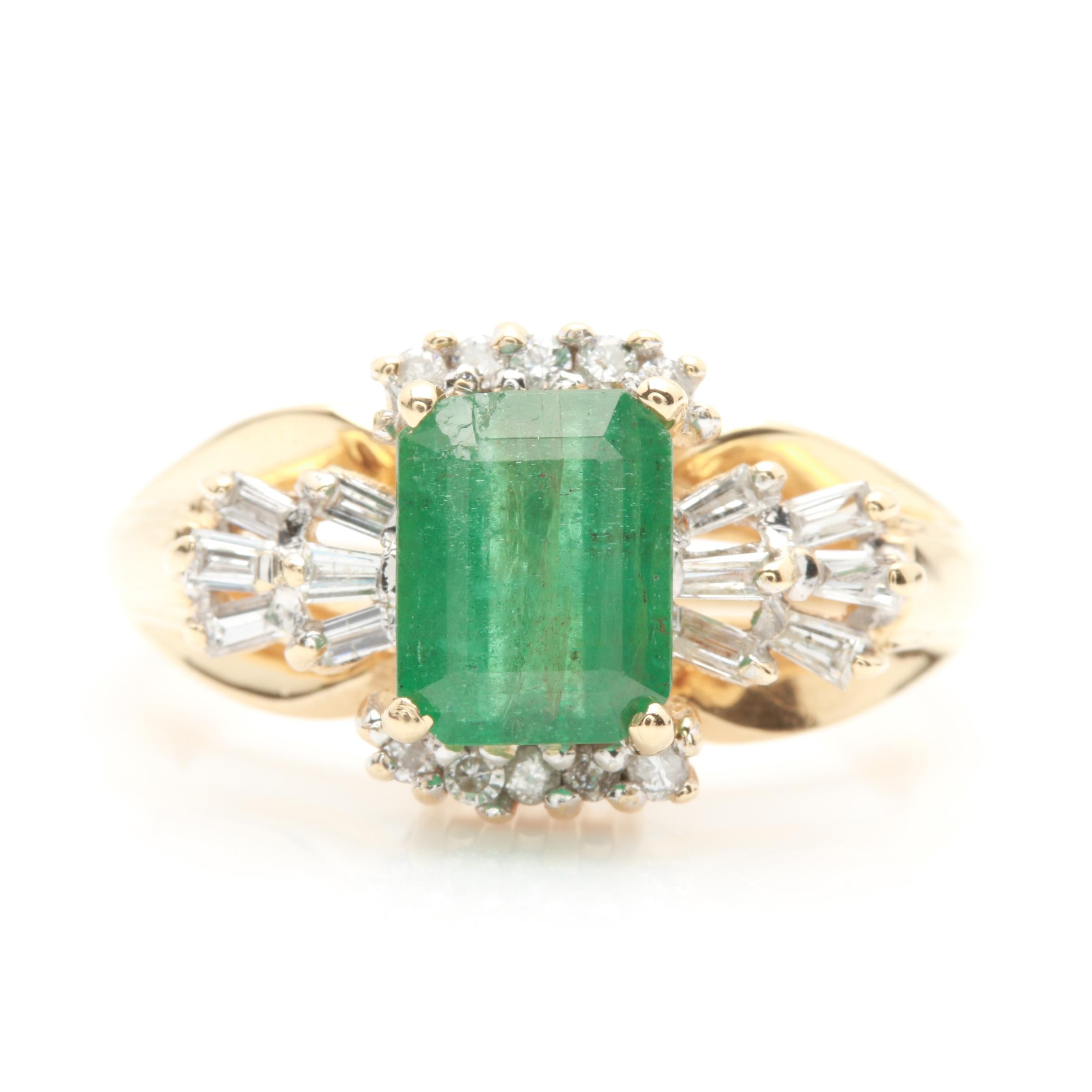 14K Yellow Gold 1.55 CT Emerald and Diamond Ring