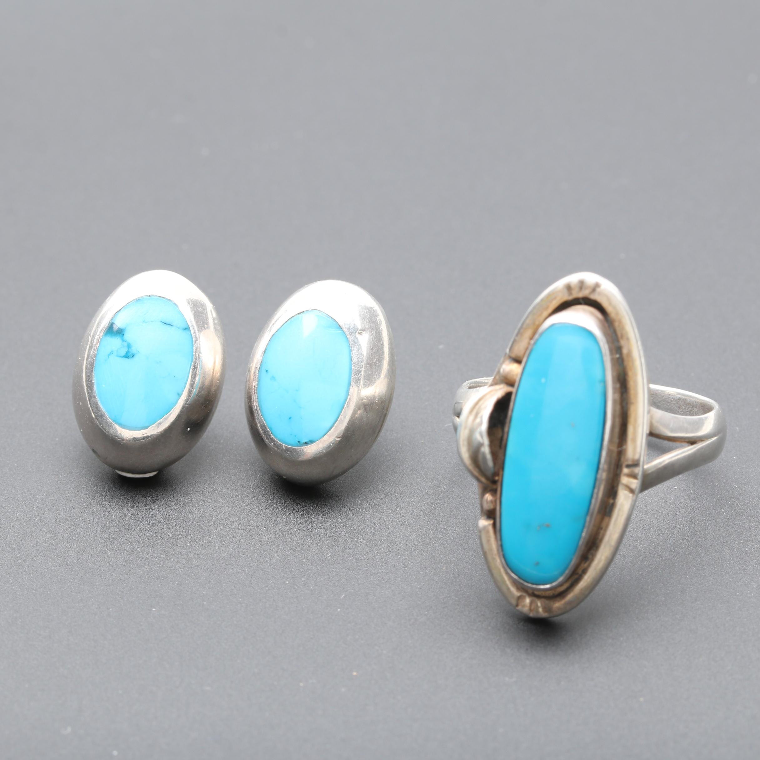Southwestern Inspired Sterling Silver Ring and Pair of Earrings