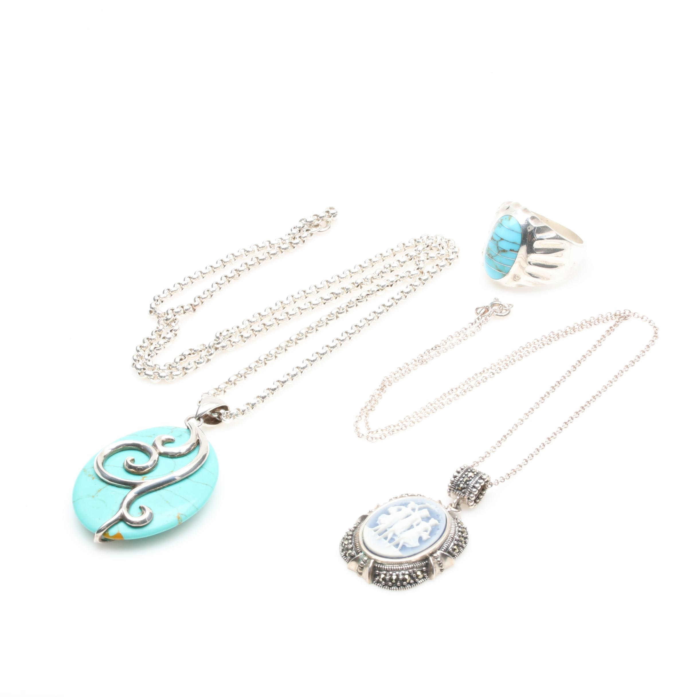 Sterling Silver Jewelry Assortment Including Marcasite and Synthetic Turquoise