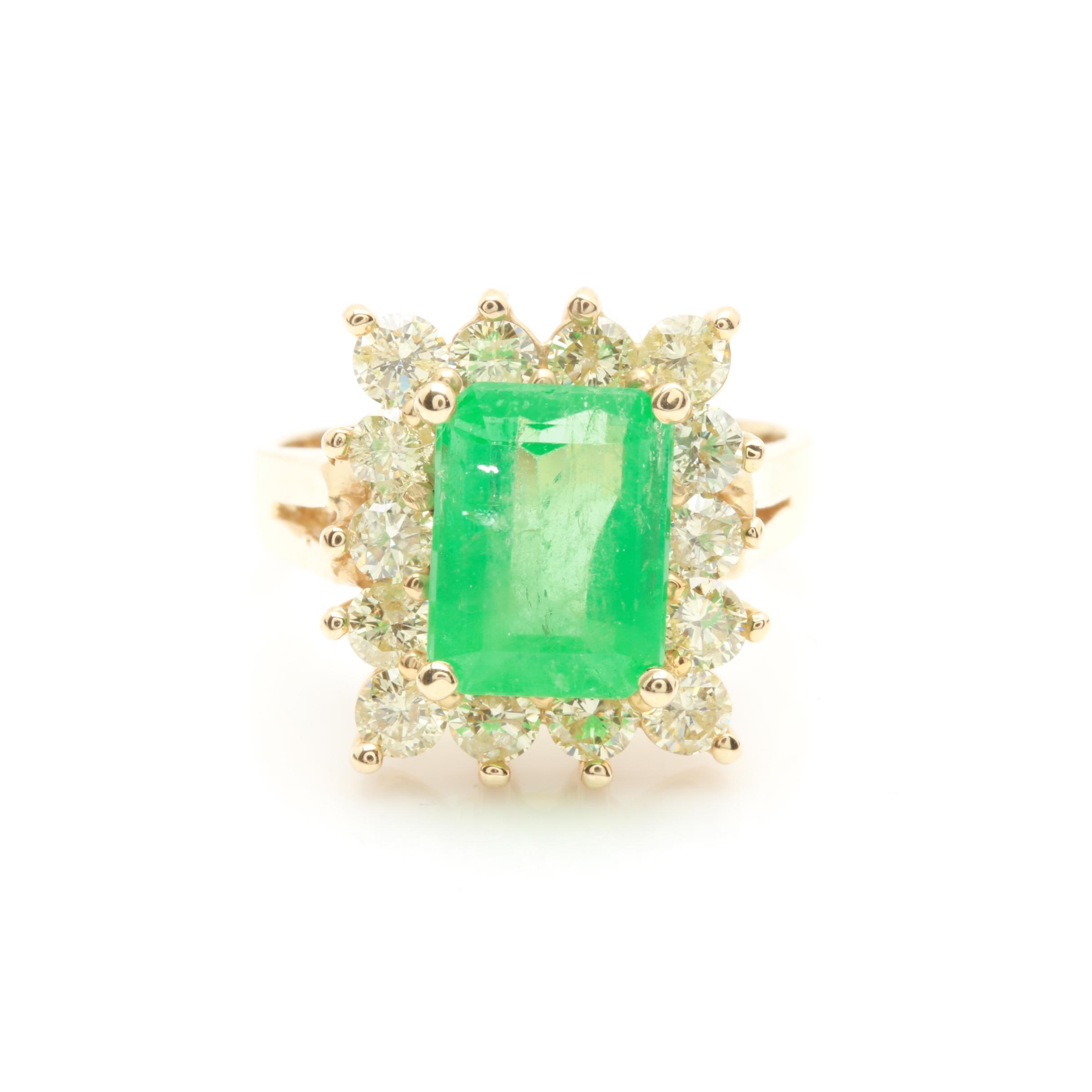 14K Yellow Gold 2.48 CT Emerald and 1.33 CTW Diamond Ring