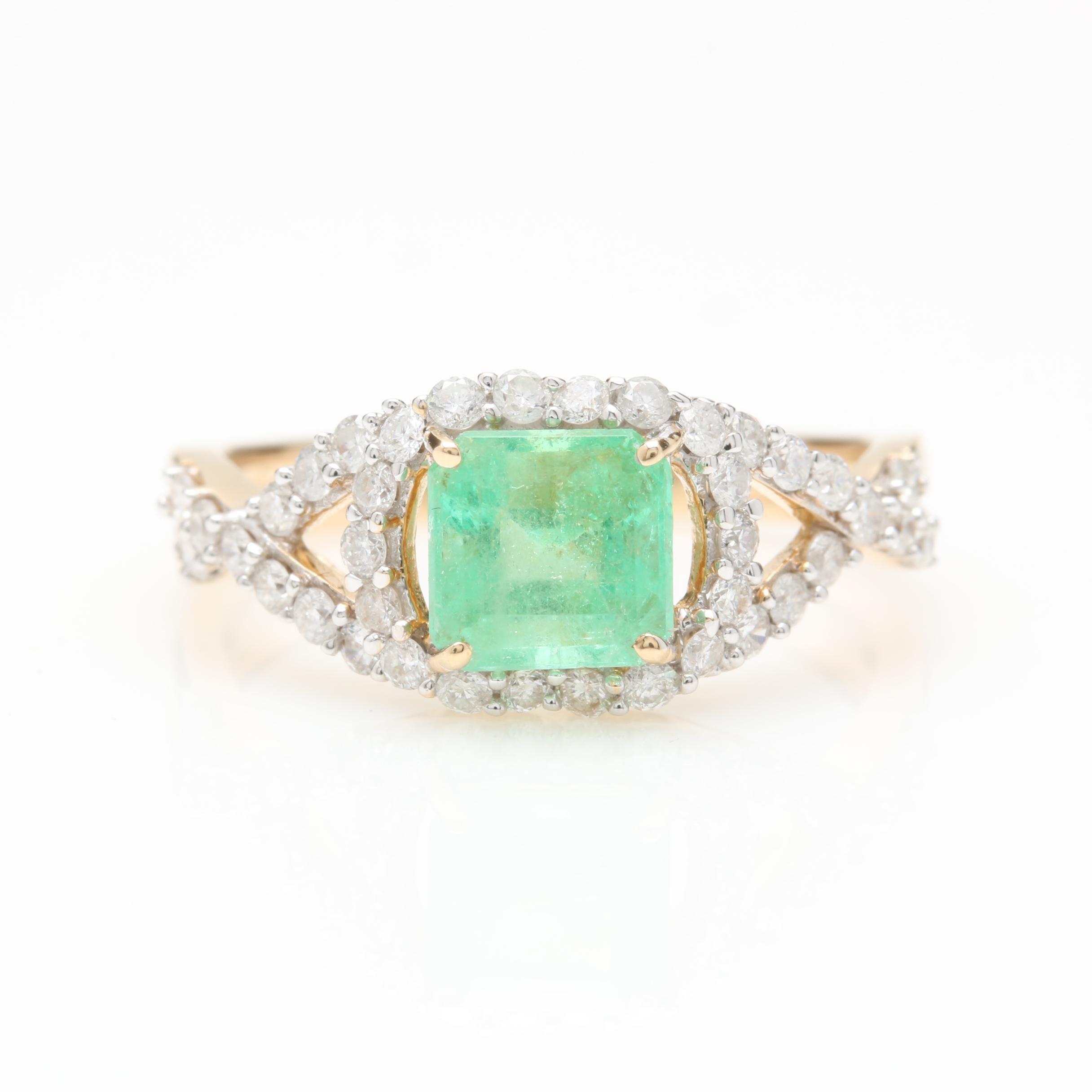 14K Yellow Gold 1.08 CT Emerald and Diamond Ring