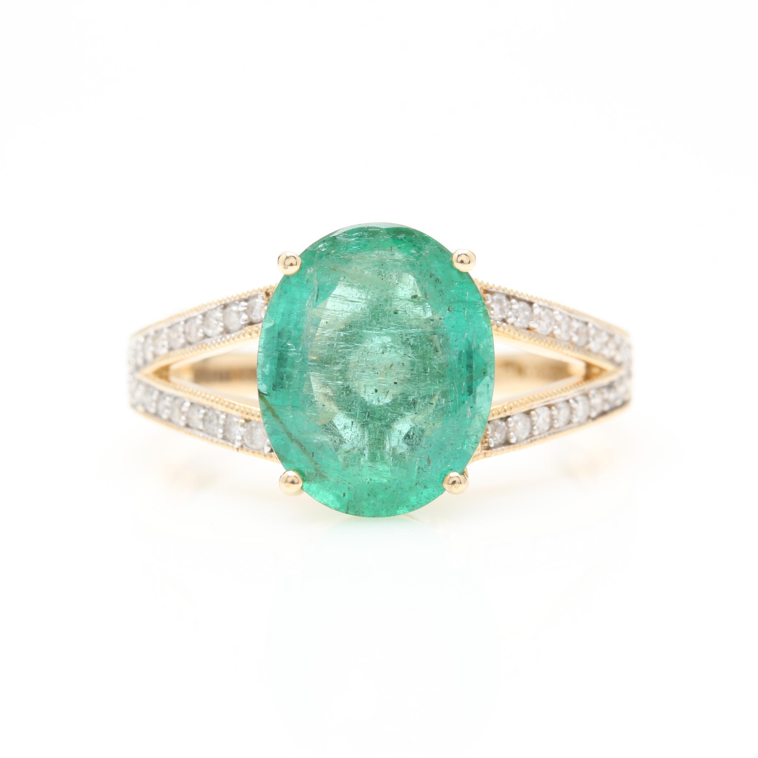 14K Yellow Gold 2.85 CT Emerald and Diamond Ring