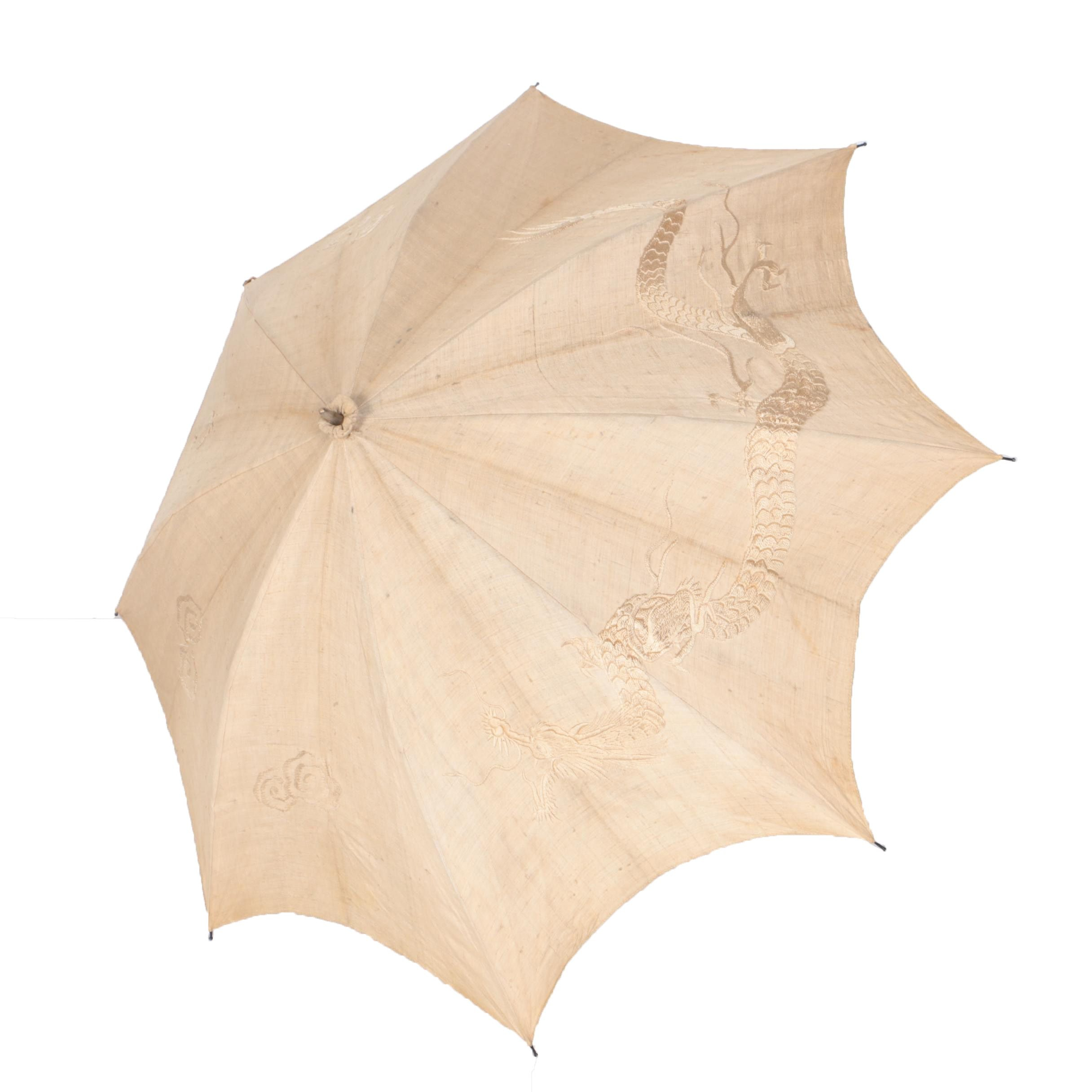 Vintage Silk Embroidered Canvas Parasol with Chinese Dragon