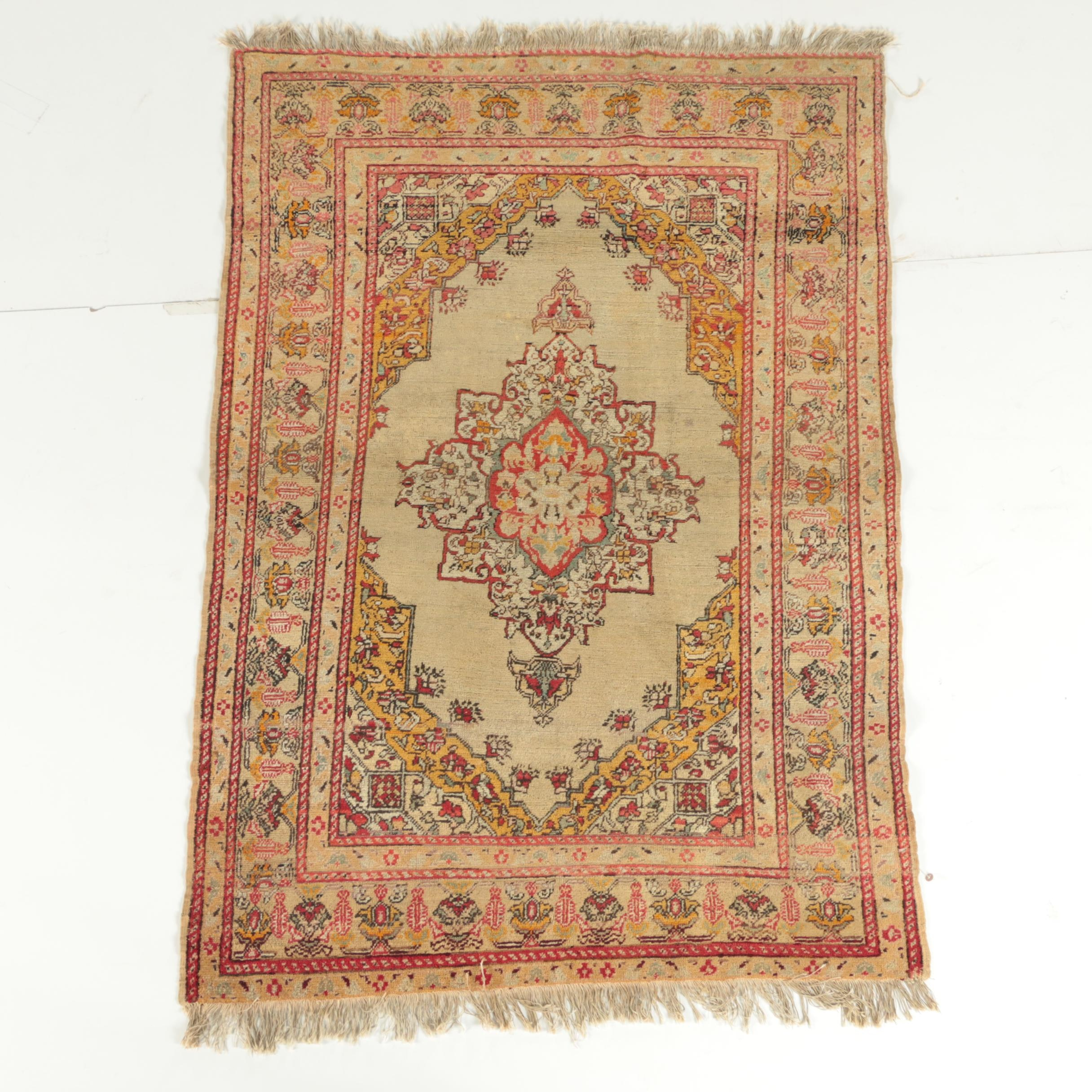 Semi-Antique Hand-Knotted Turkish Urgup Area Rug