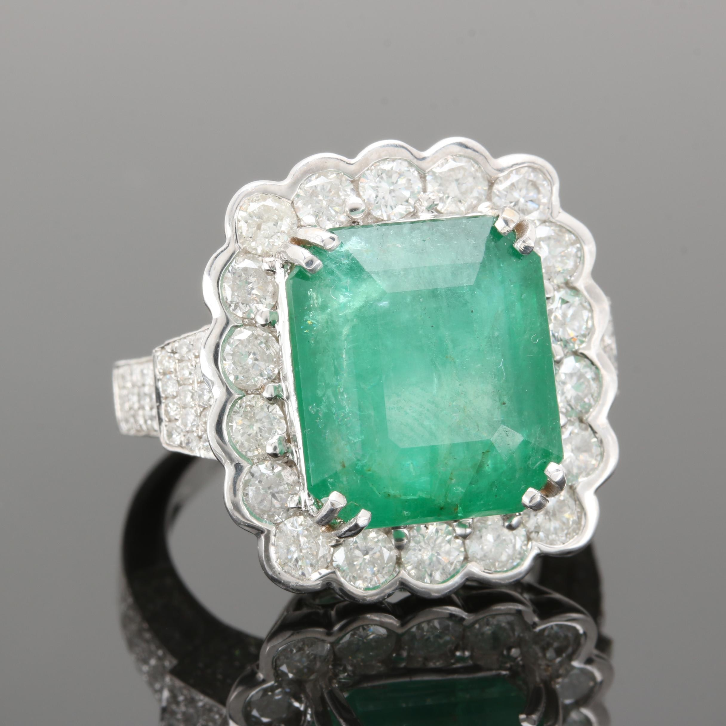 18K White Gold 8.70 CT Emerald and 2.20 CTW Diamond Ring