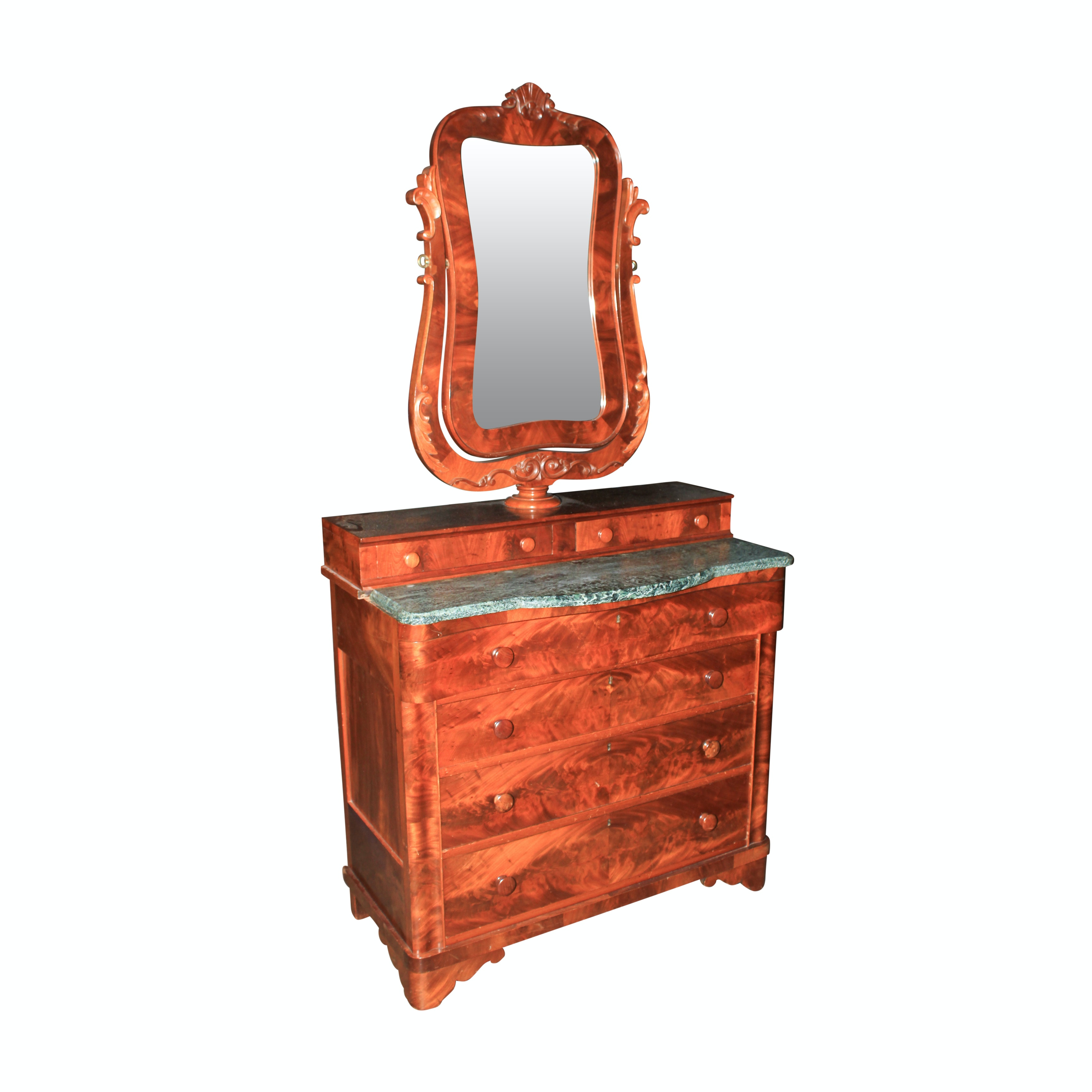 Antique Victorian Mahogany Marble Top Chest of Drawers with Mirror