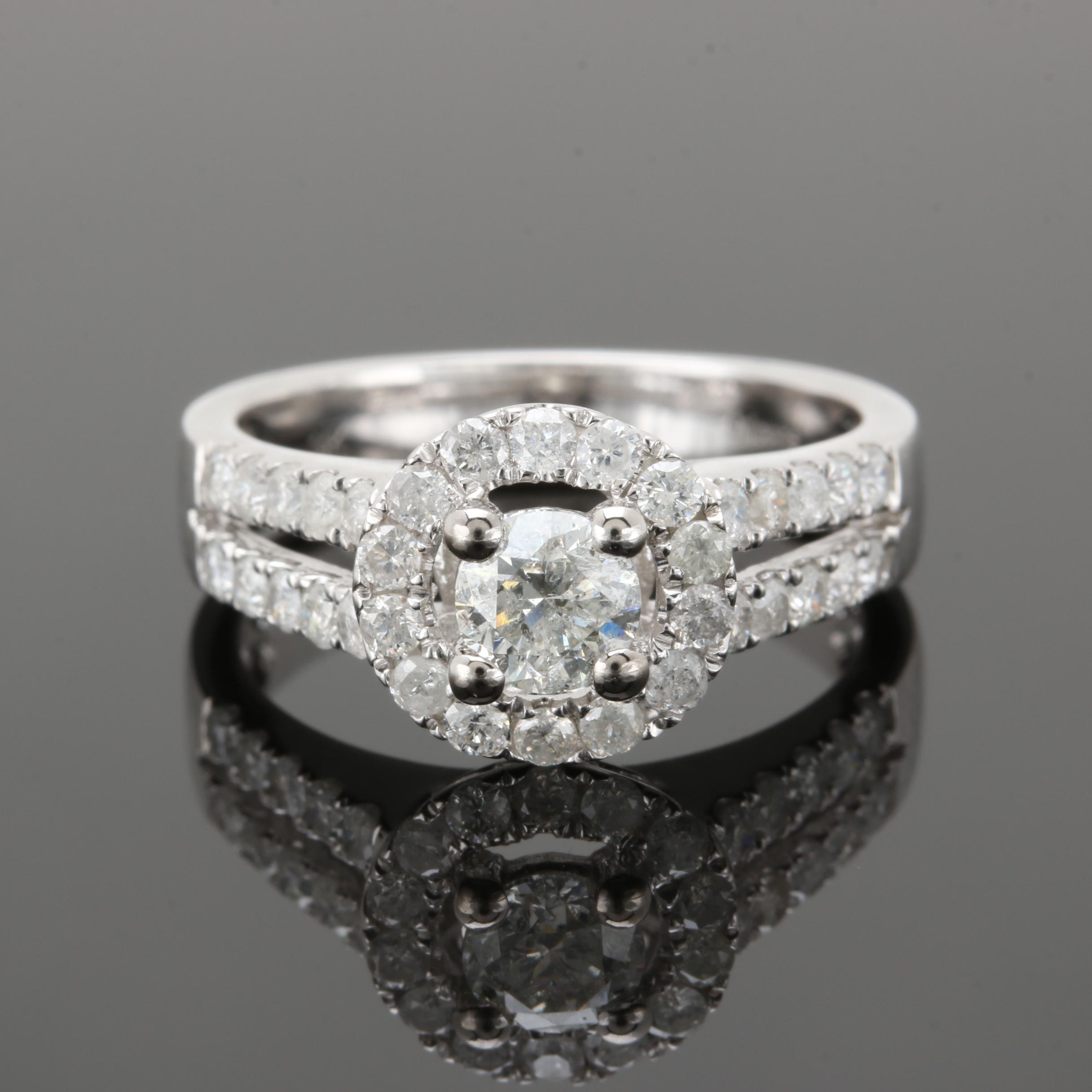 14K White Gold 1.17 CTW Diamond Ring