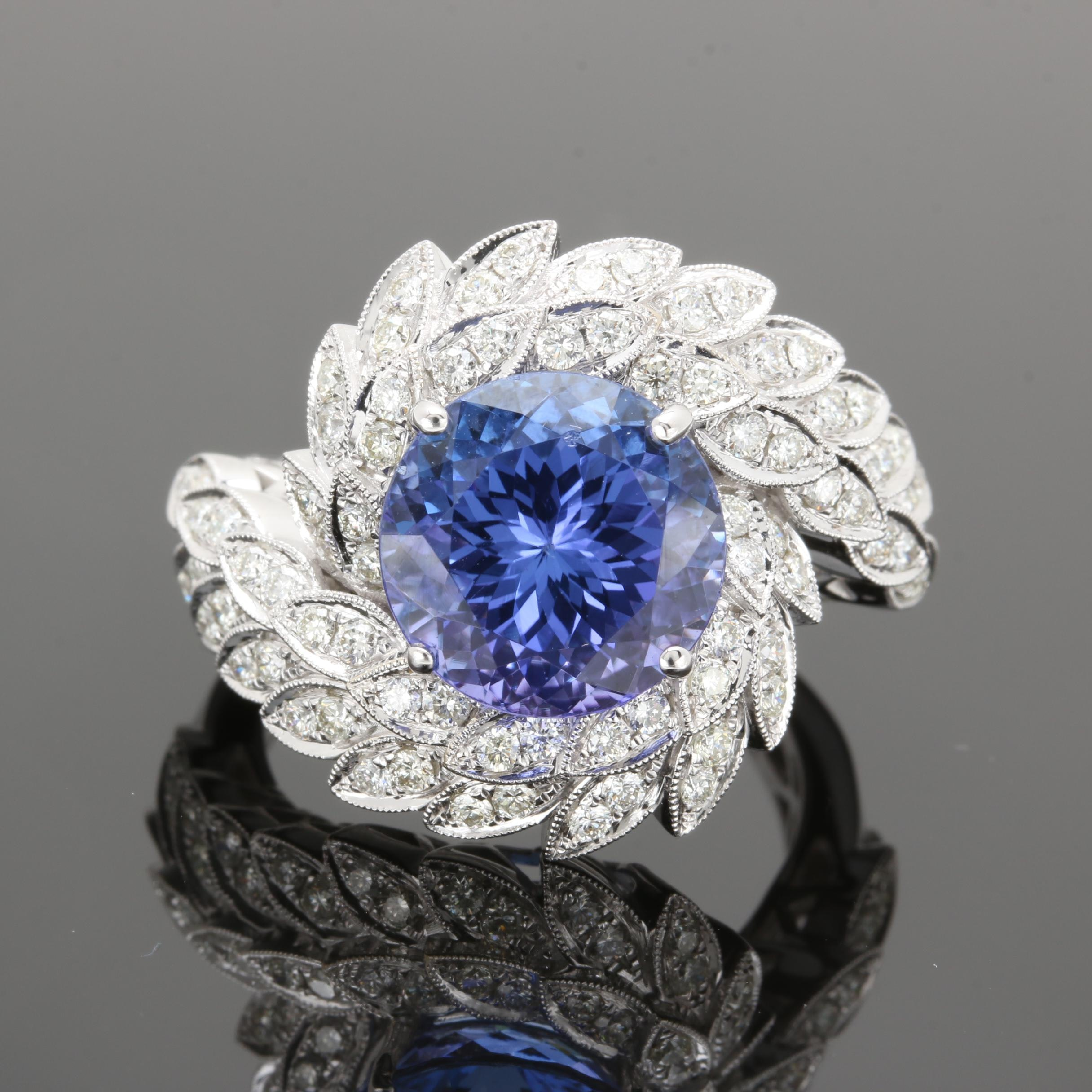 18K White Gold 5.76 CT Tanzanite and 1.20 CTW Diamond Ring