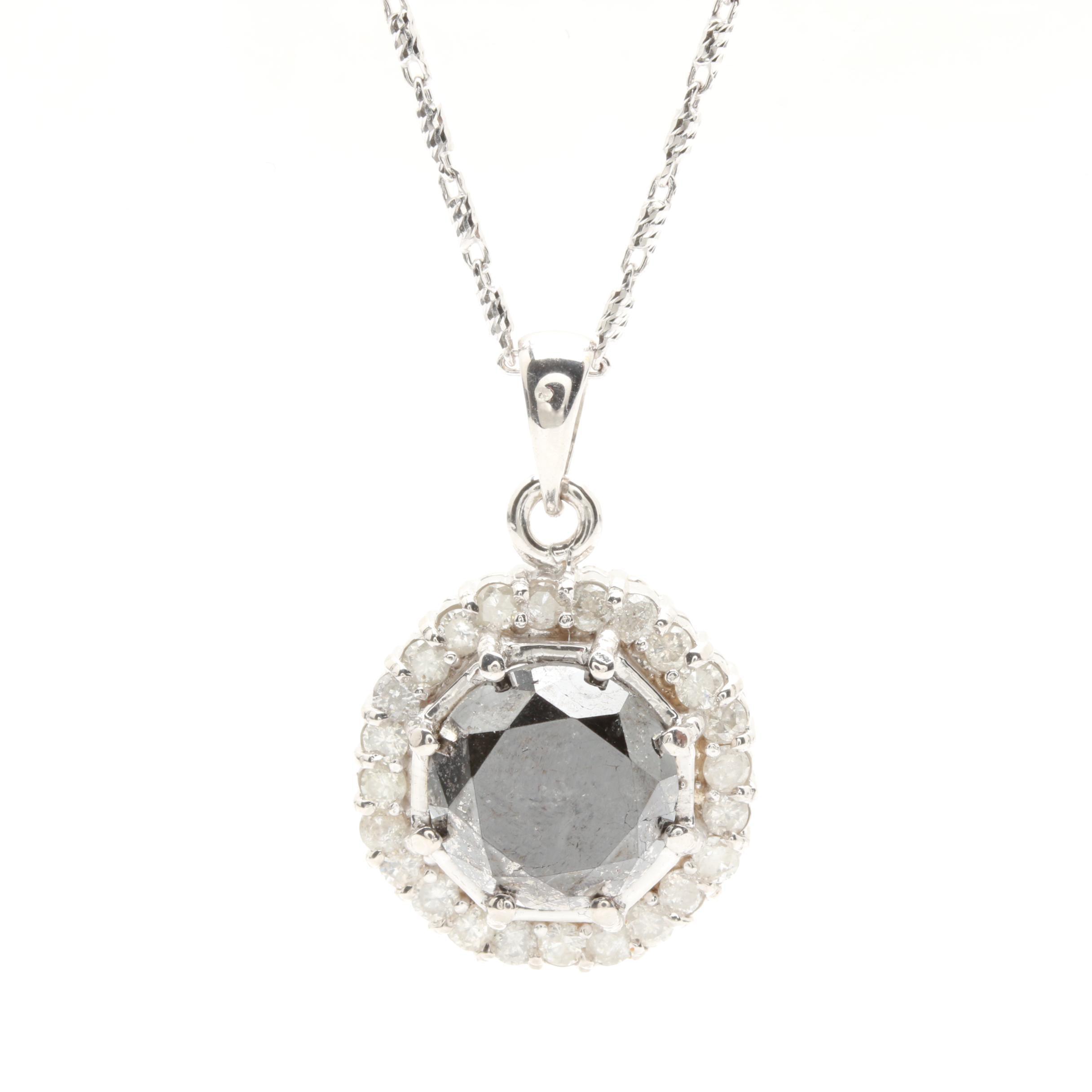 14K White Gold 5.85 CTW Diamond Pendant Necklace