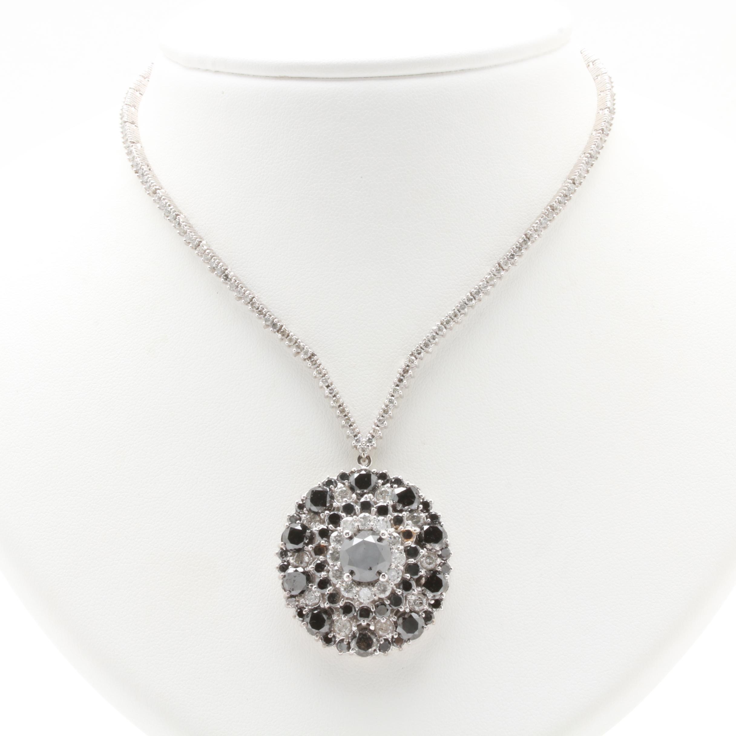 14K White Gold 16.63 CTW Diamond Pendant Necklace with Black Diamonds