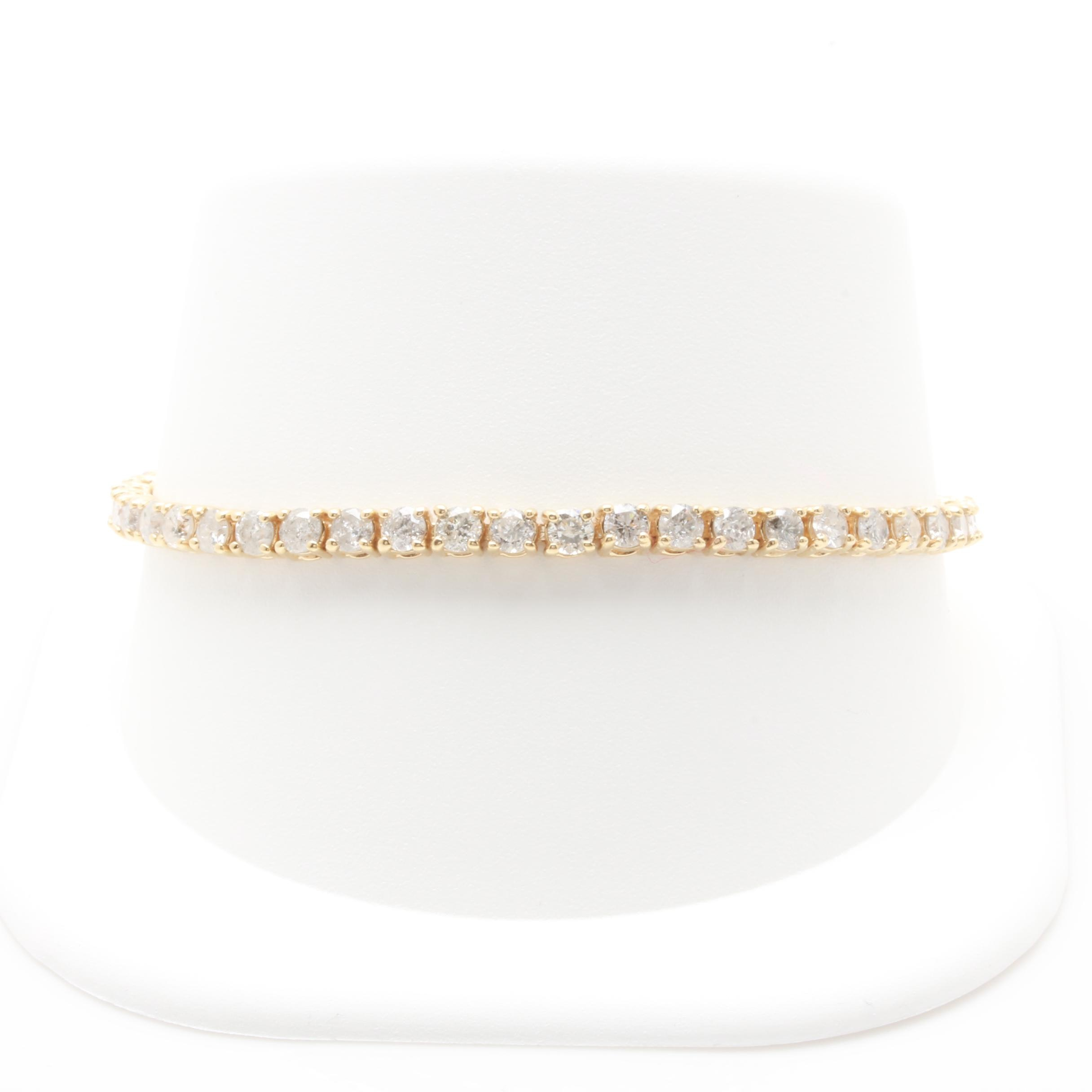 14K Yellow Gold 5.50 CTW Diamond Tennis Bracelet