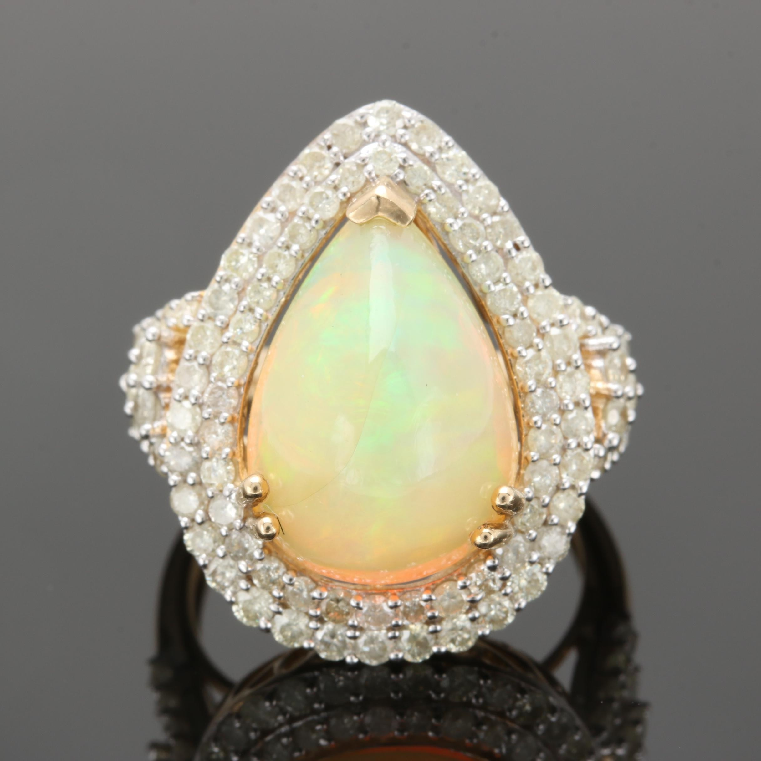 14K Yellow Gold Opal and 1.50 CTW Diamond Ring