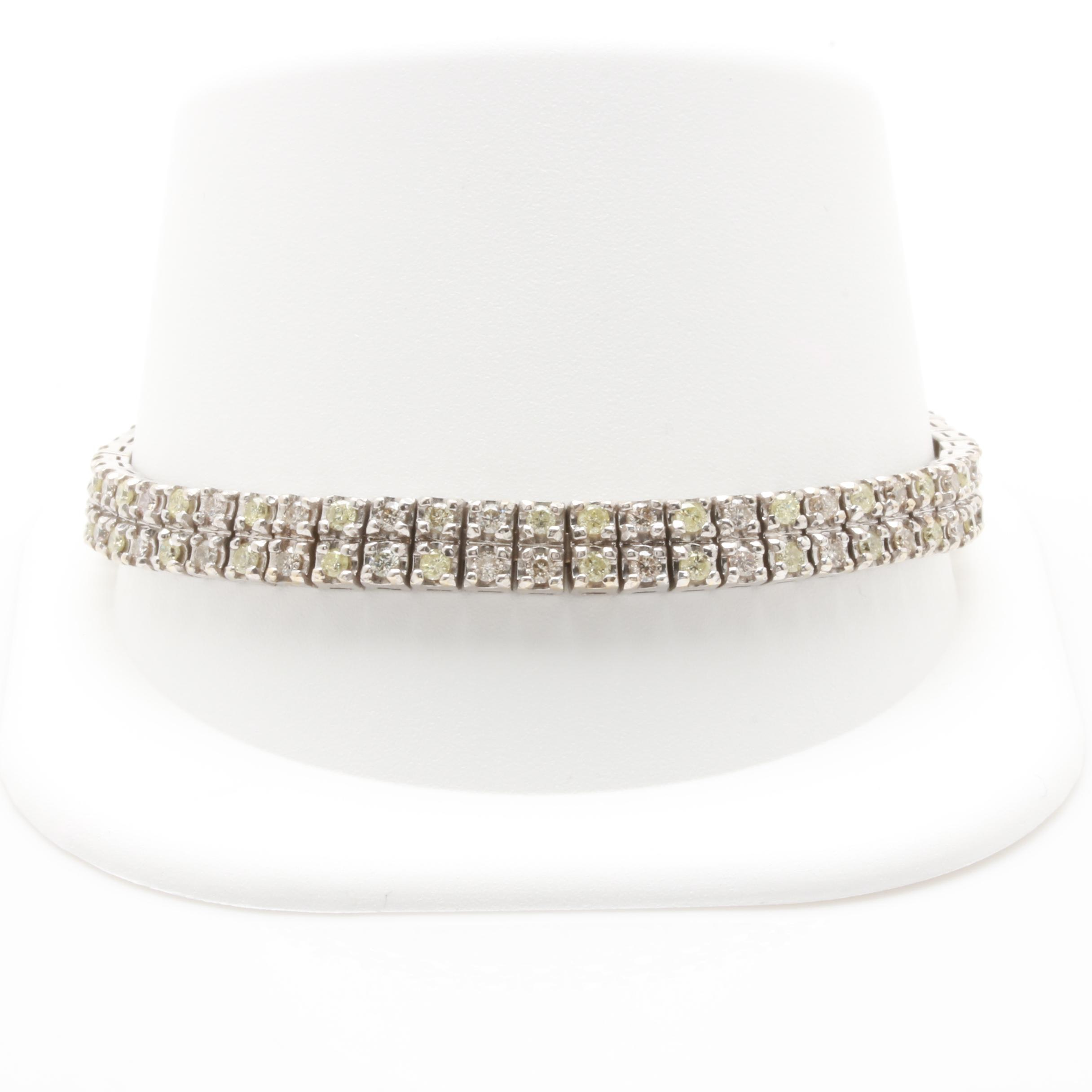 14K White Gold 3.97 CTW Diamond Link Bracelet