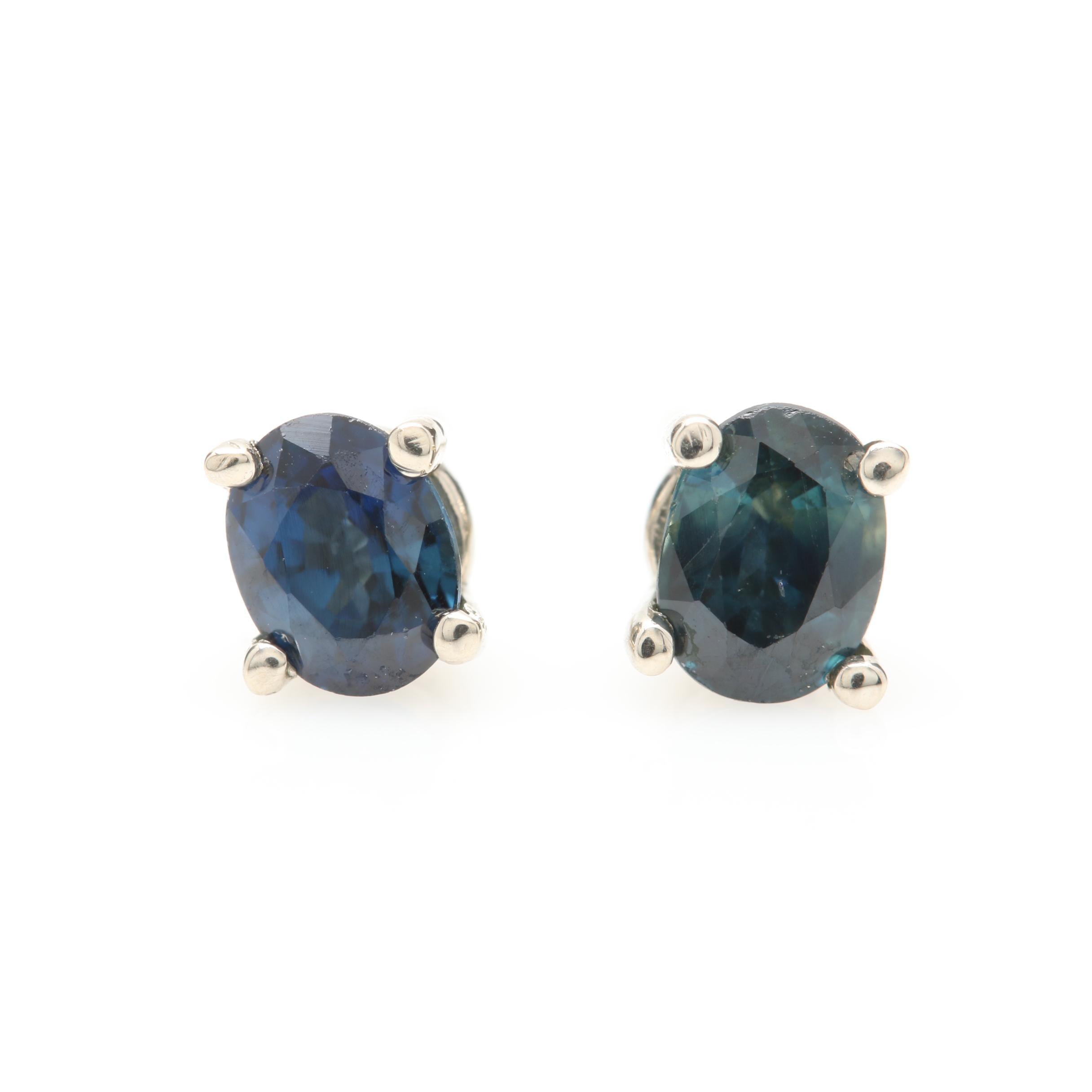 14K White Gold Blue Sapphire Stud Earrings