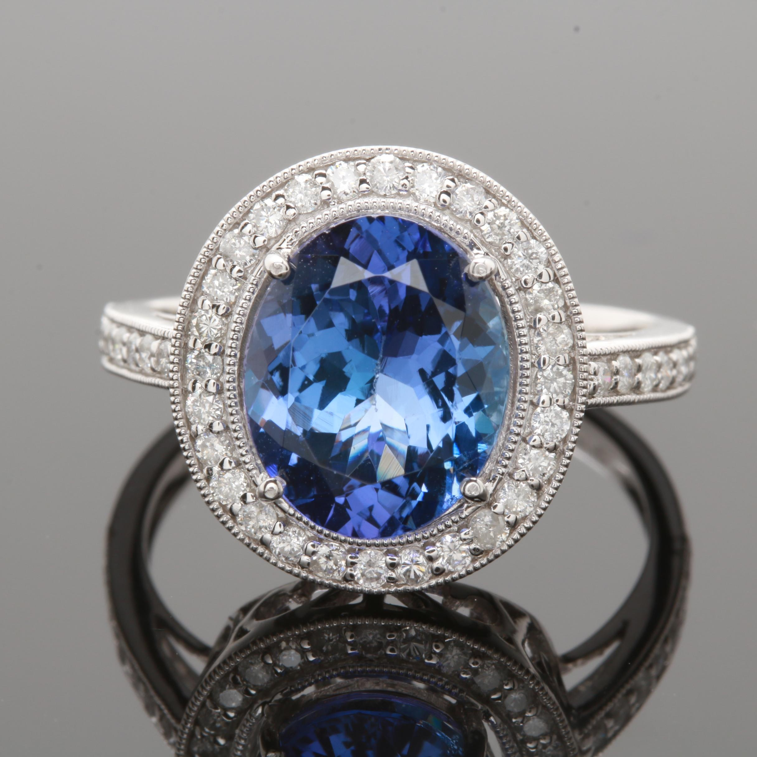 Platinum 3.52 CT Tanzanite and Diamond Ring