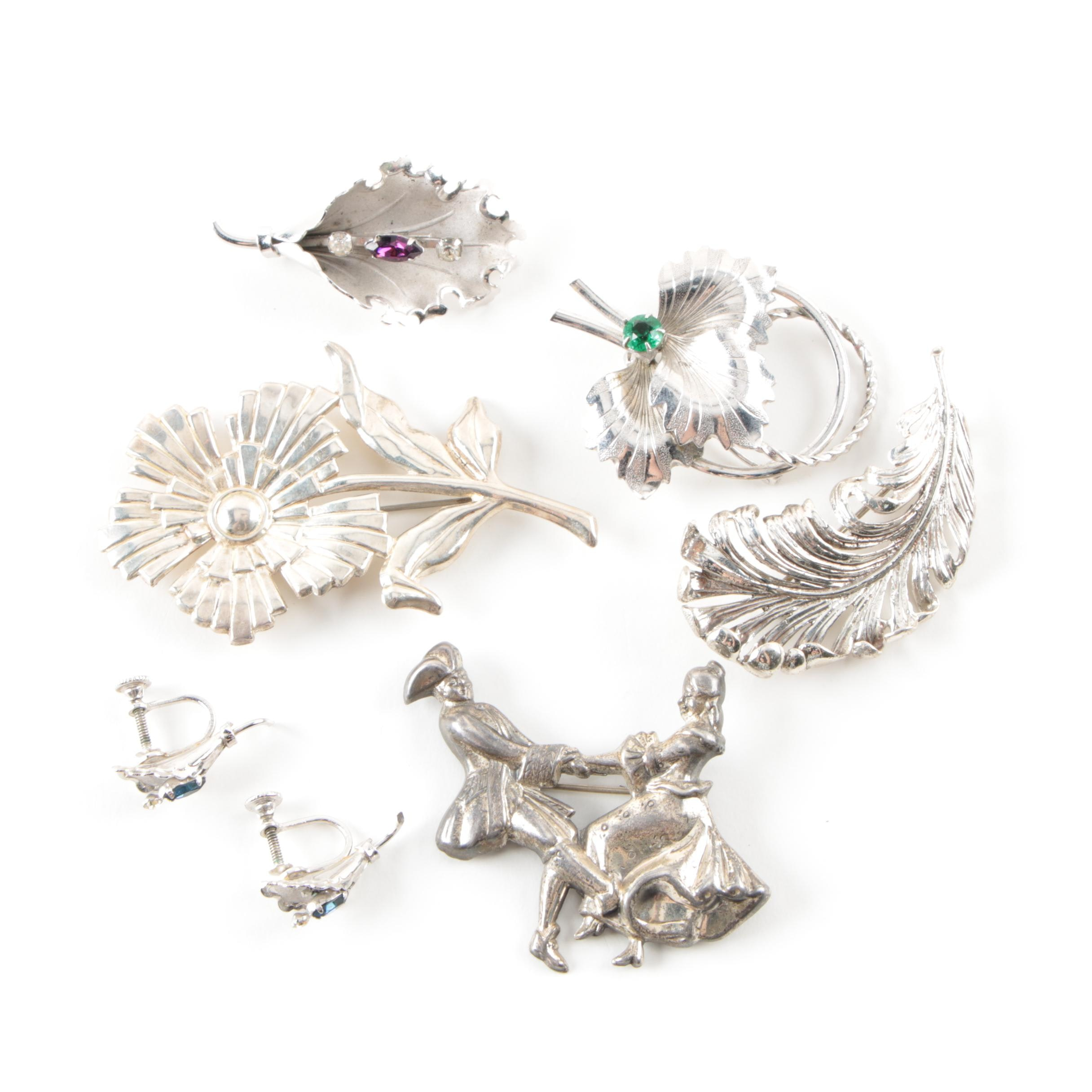 Vintage Sterling Silver Brooch and Earring Collection Including Colored Glass