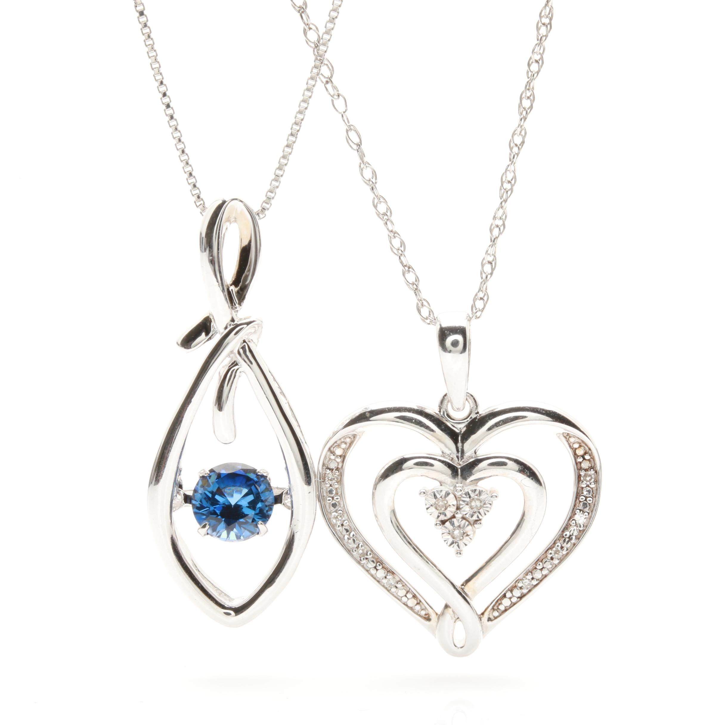 Sterling Silver Synthetic Sapphire and Diamond Necklace Selection