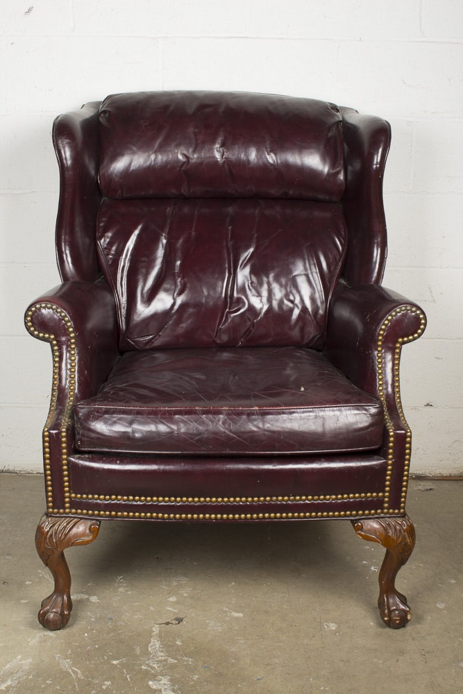 Vintage Burgundy Leather Wingback Chair By Whittemore Sherrill ...