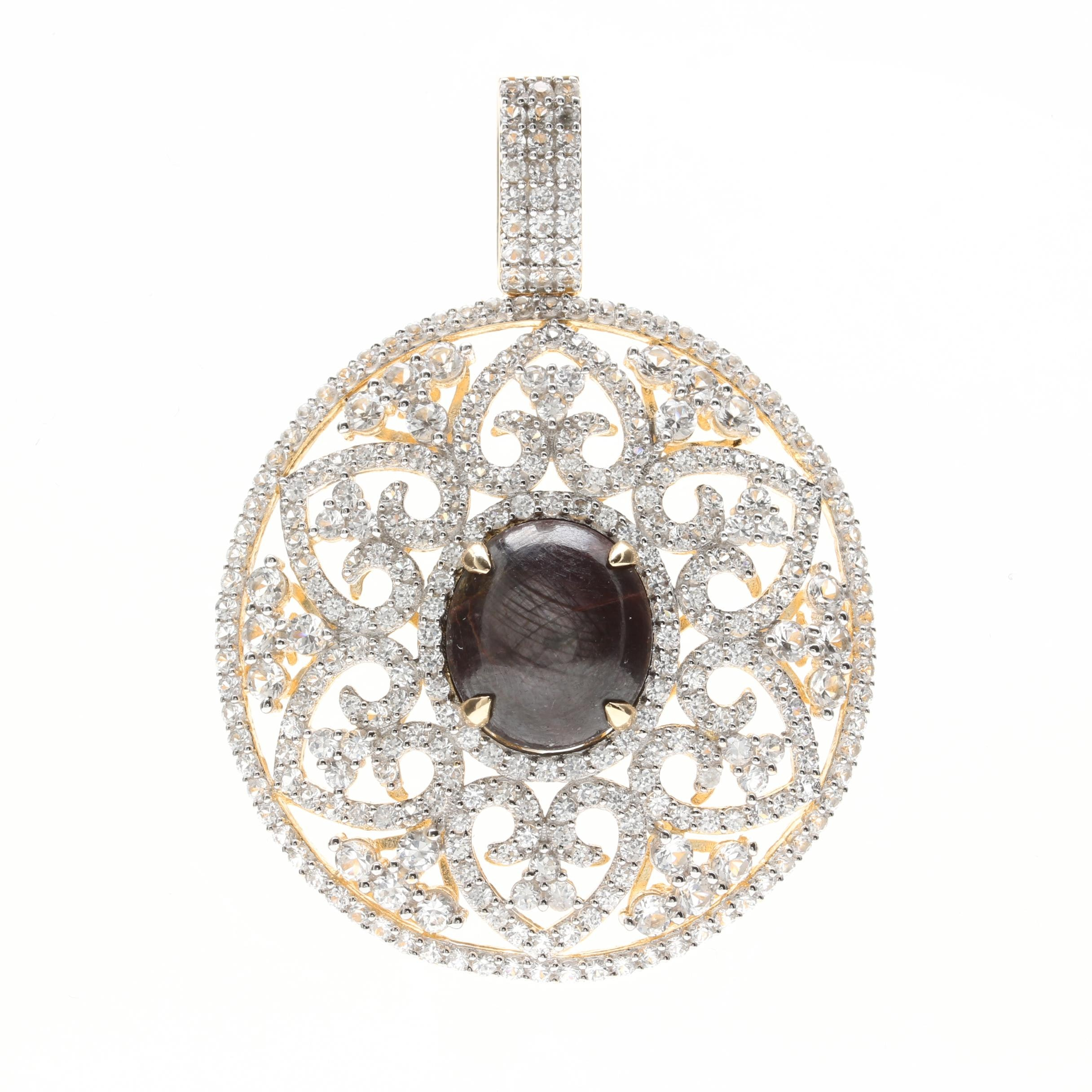 Gold Wash on Sterling Silver 18.19 CT Star Corundum and White Sapphire Pendant