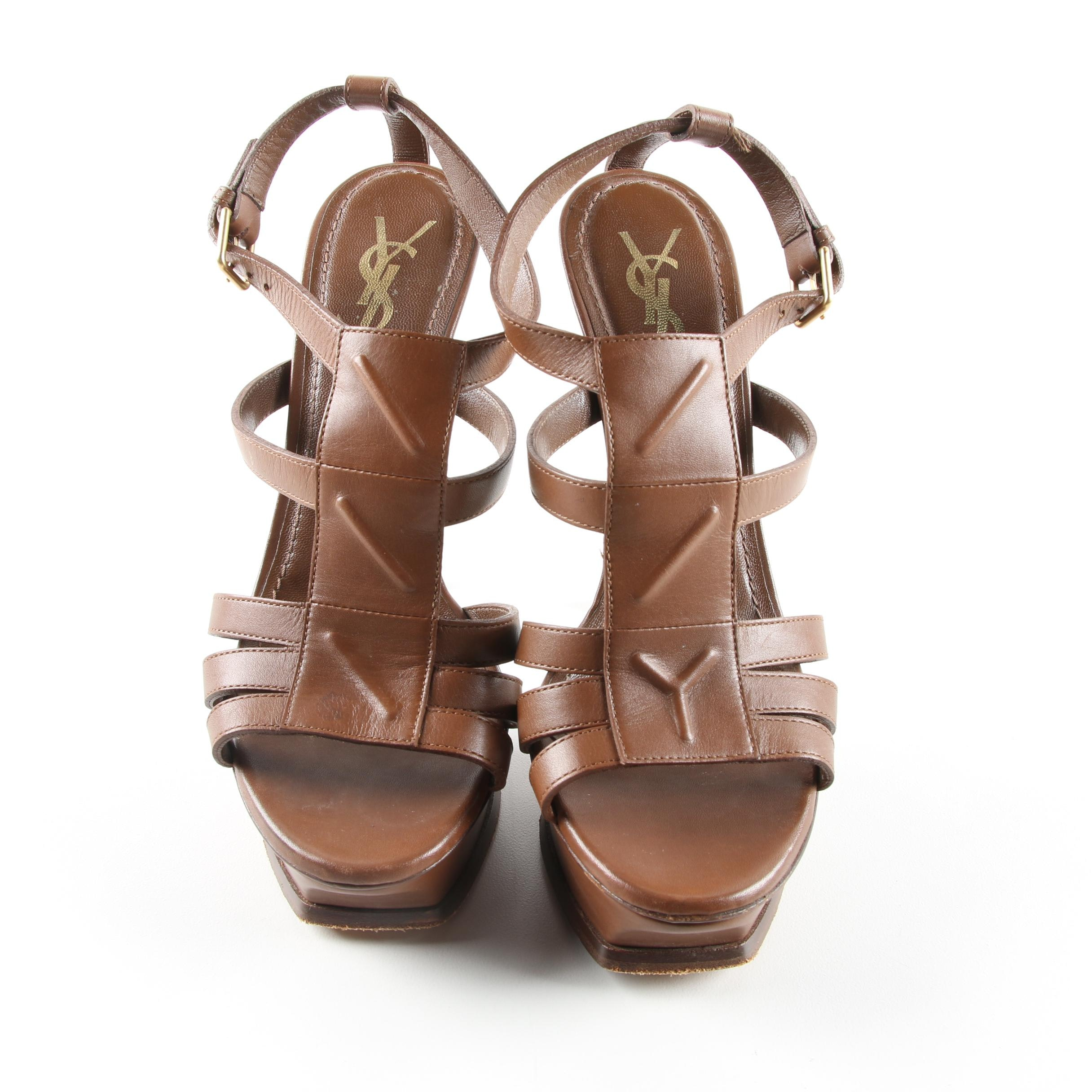 Yves Saint Laurent Brown Leather Platform Sandals