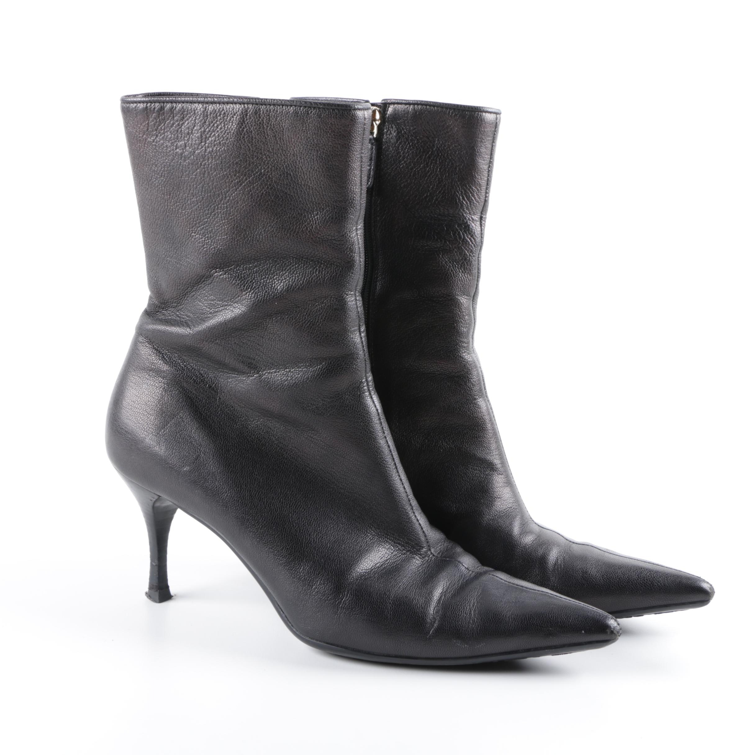 Gucci Black Leather High Heel Ankle Boots