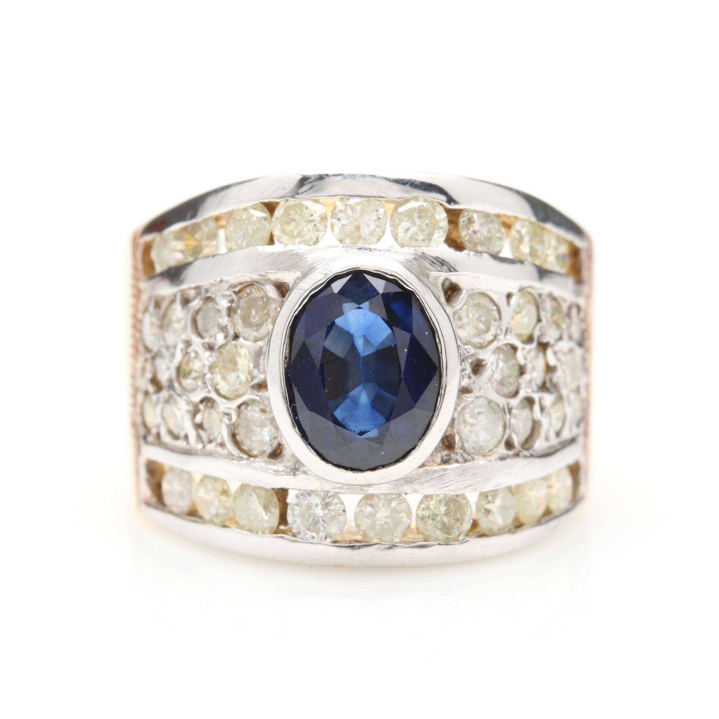 14K Yellow Gold 1.35 CT Sapphire and 1.38 CTW Diamond Ring