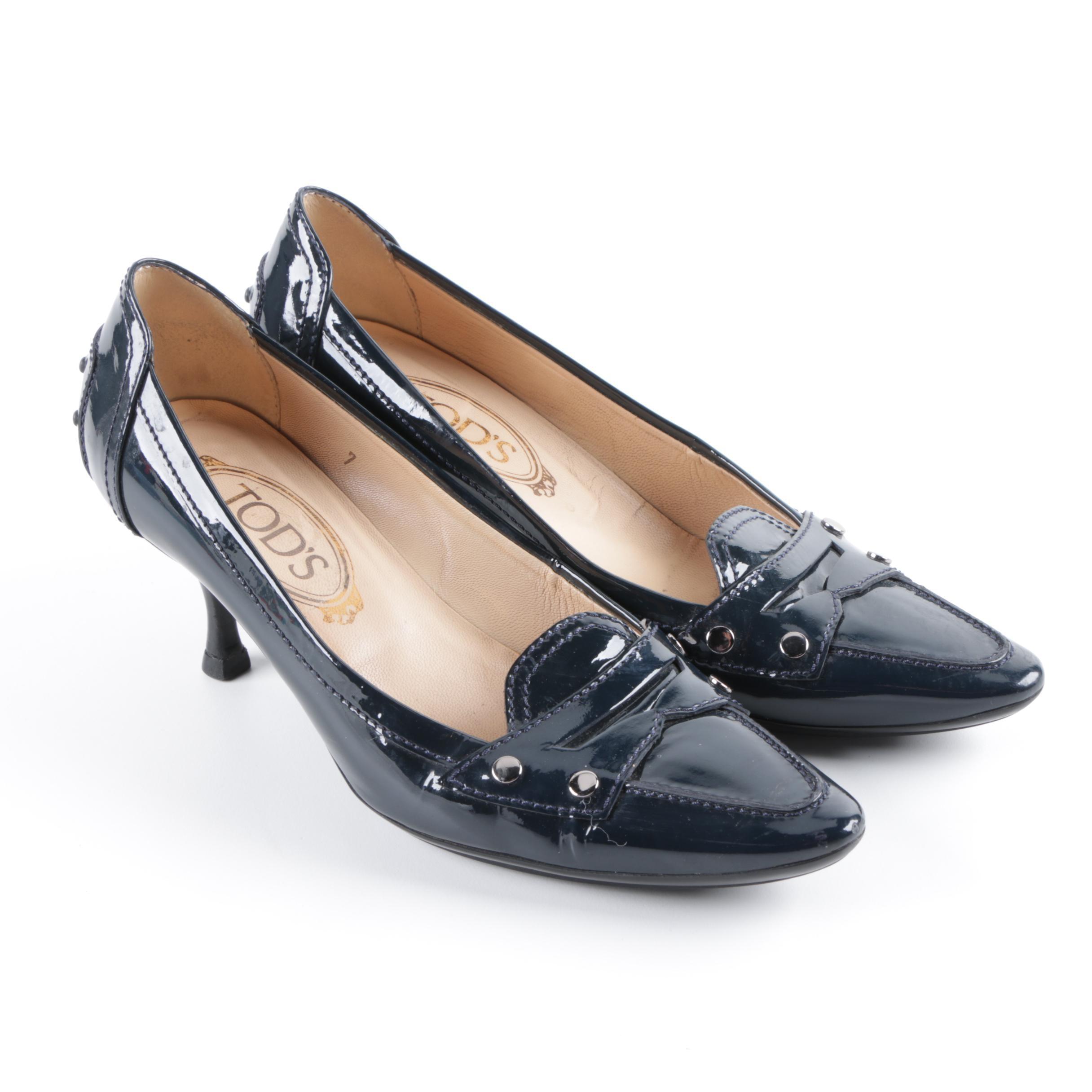 Tod's Navy Blue Patent Leather Kitten Heels