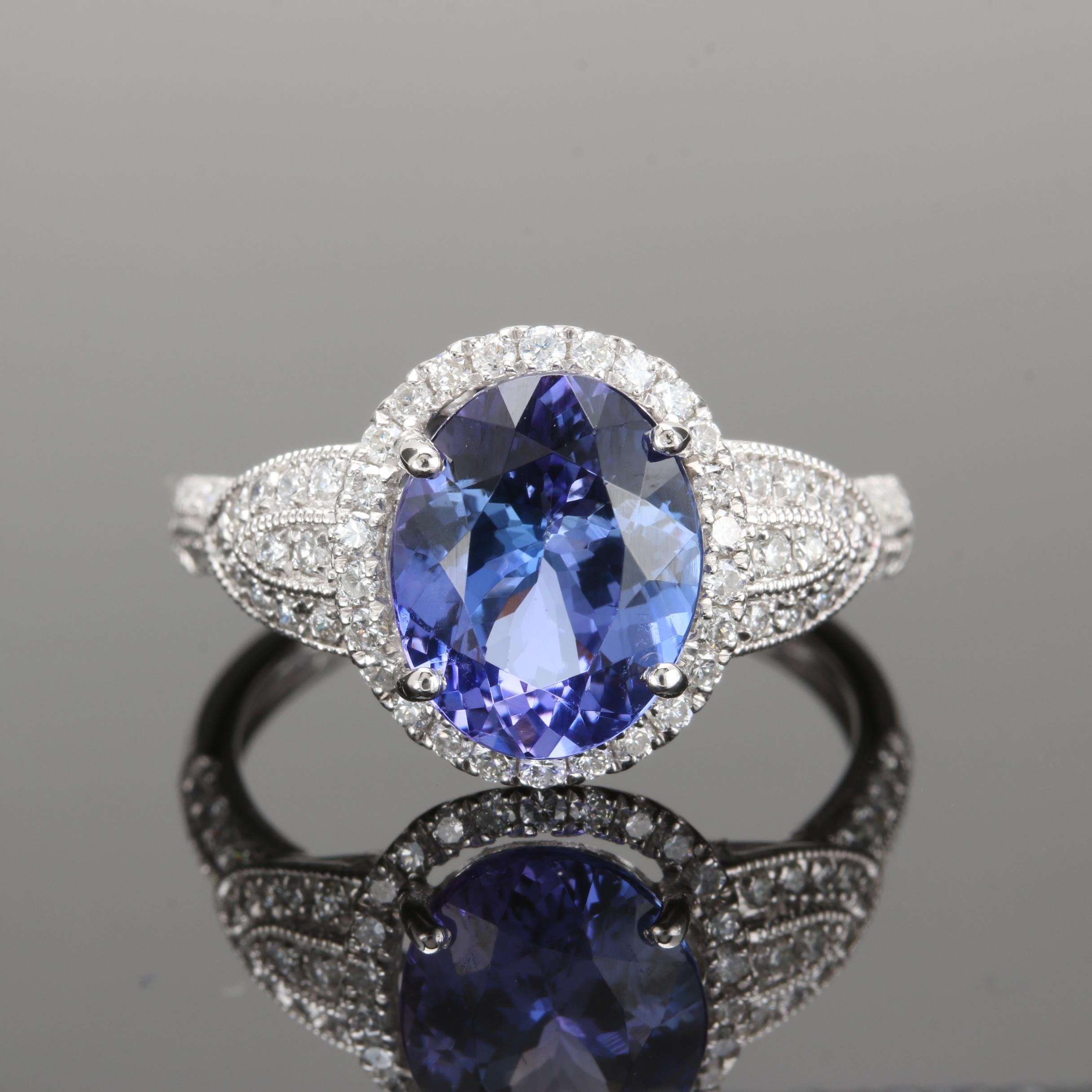 Platinum 2.94 CT Tanzanite and Diamond Ring