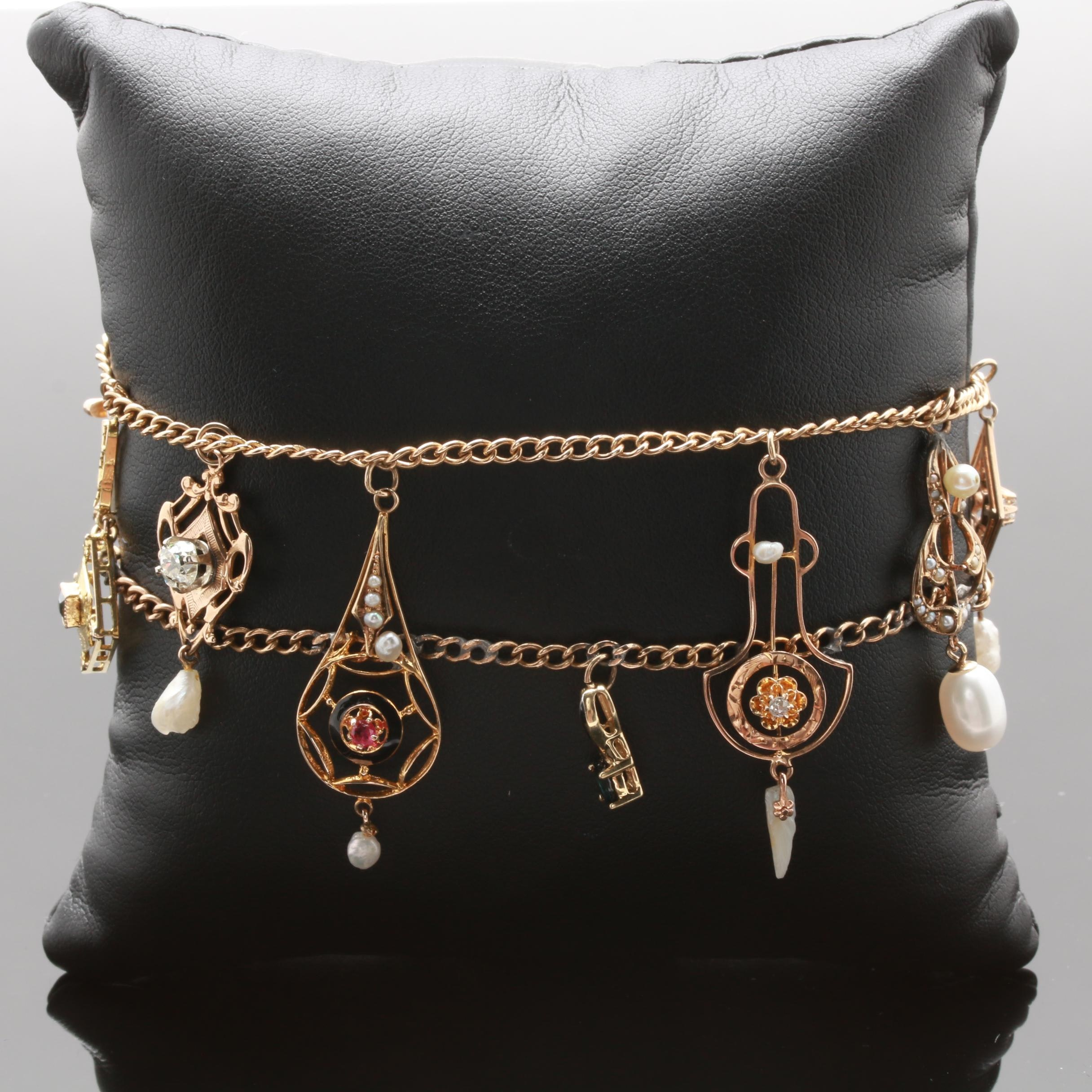 10K Yellow Gold Diamond and Gemstone Bracelet with Vintage Pendant Charms