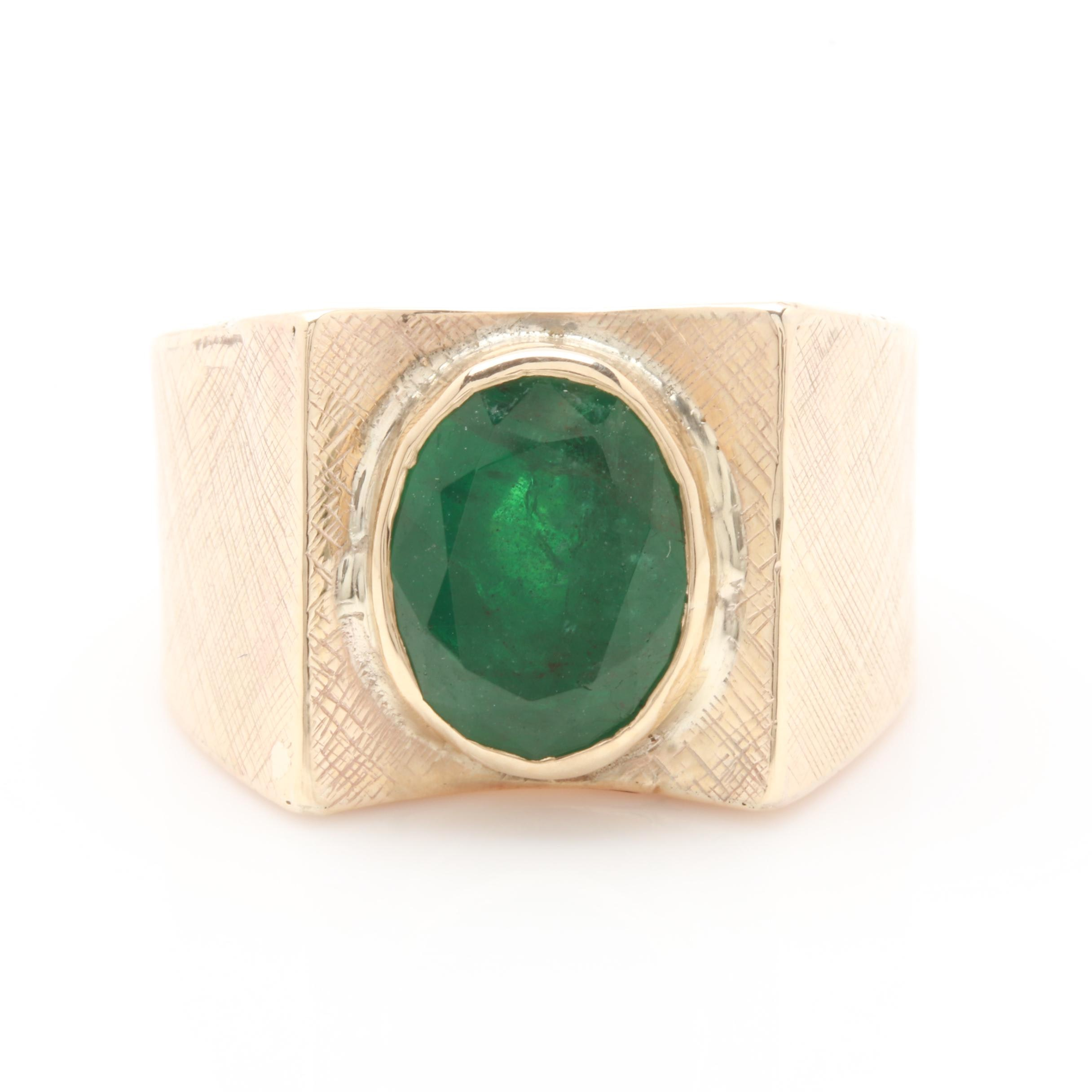 10K Yellow Gold 3.17 CT Emerald Ring