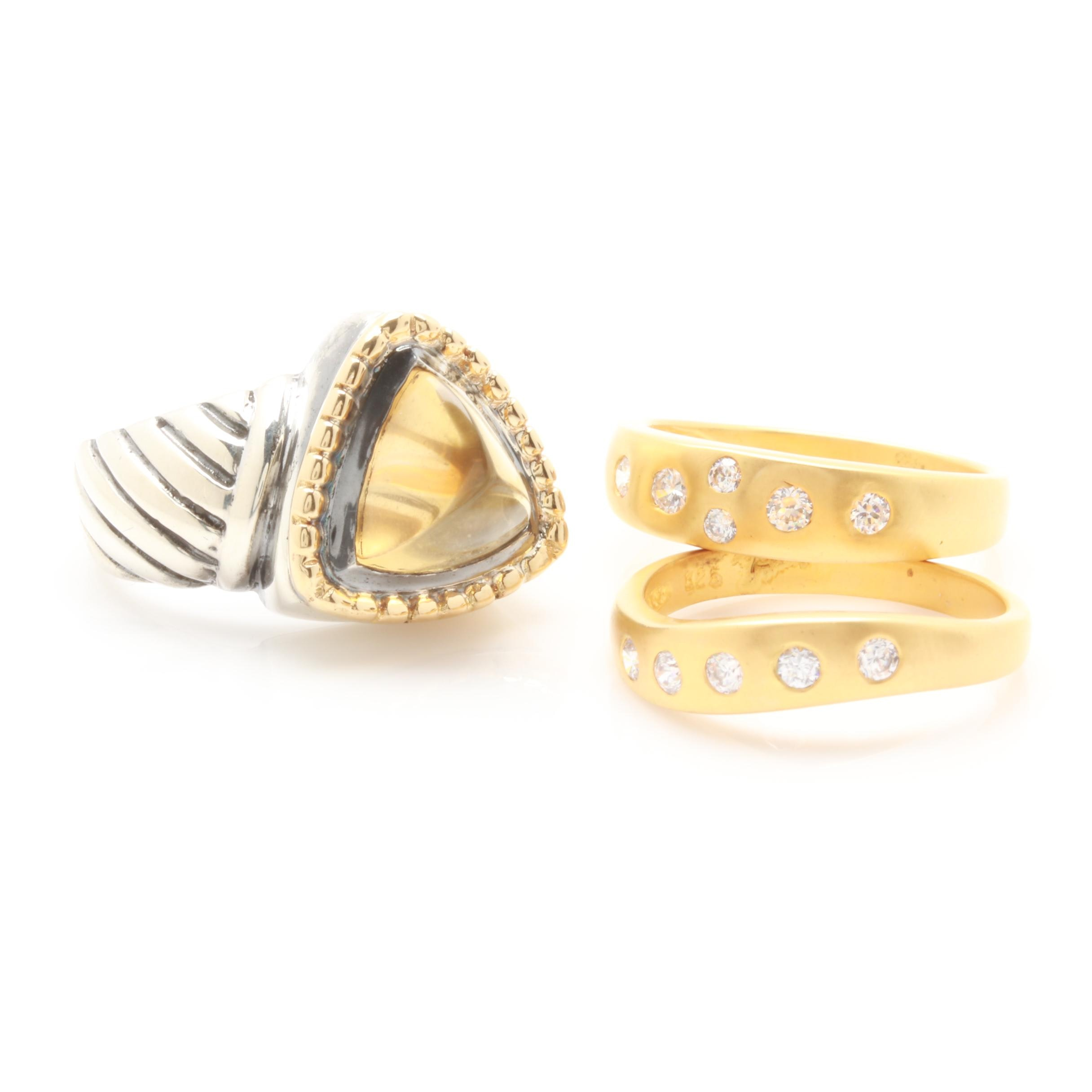 Sterling Silver Citrine and Cubic Zirconia Rings