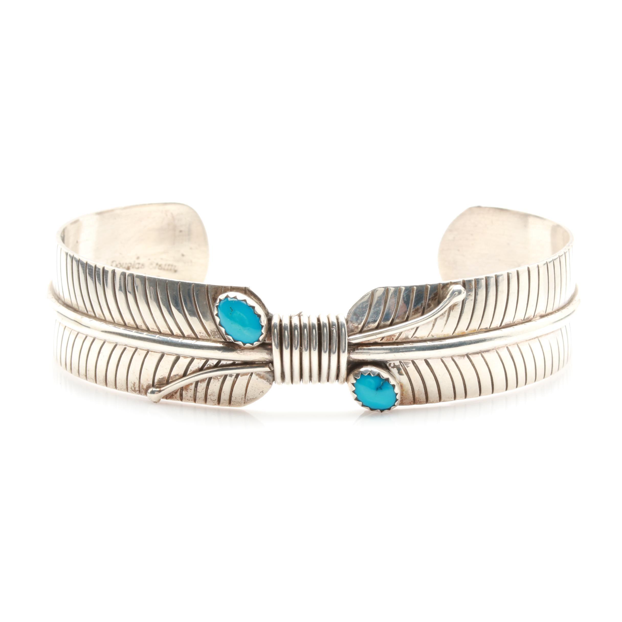 Douglas Etsitty Navajo Diné Sterling Silver Turquoise Cuff Bracelet