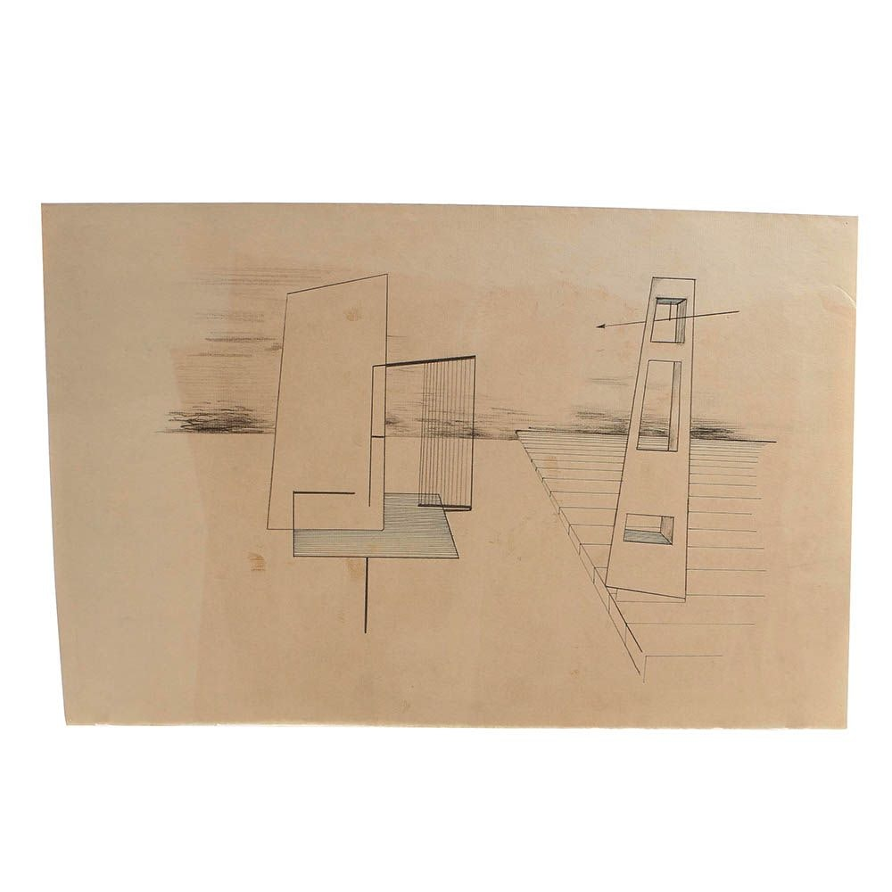 Mid 20th-Century Graphite and Ink Drawing