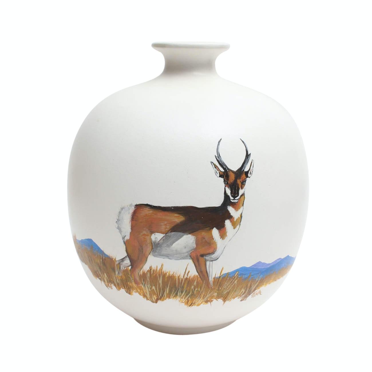 Hand-Painted Slip Cast Ceramic Deer Vase
