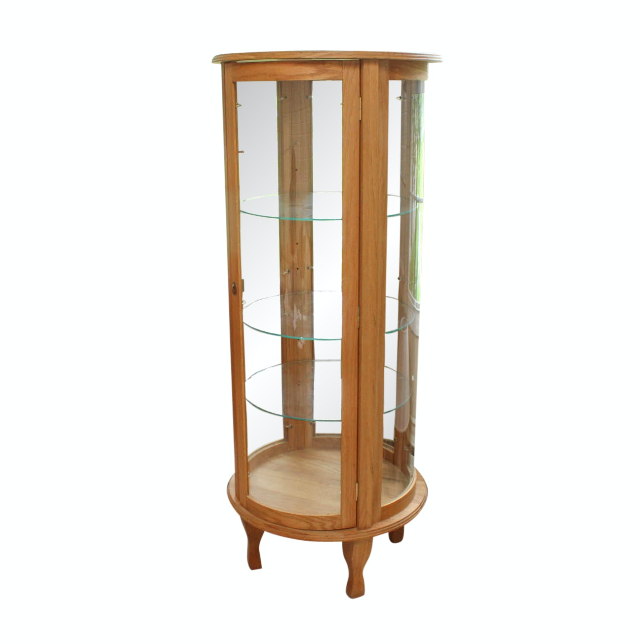 Illuminated Circular Oak Curio Cabinet