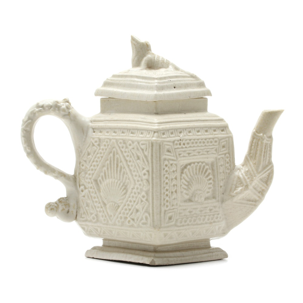 Rare English Salt Glaze Teapot with Iguana Finial Circa 1740-45