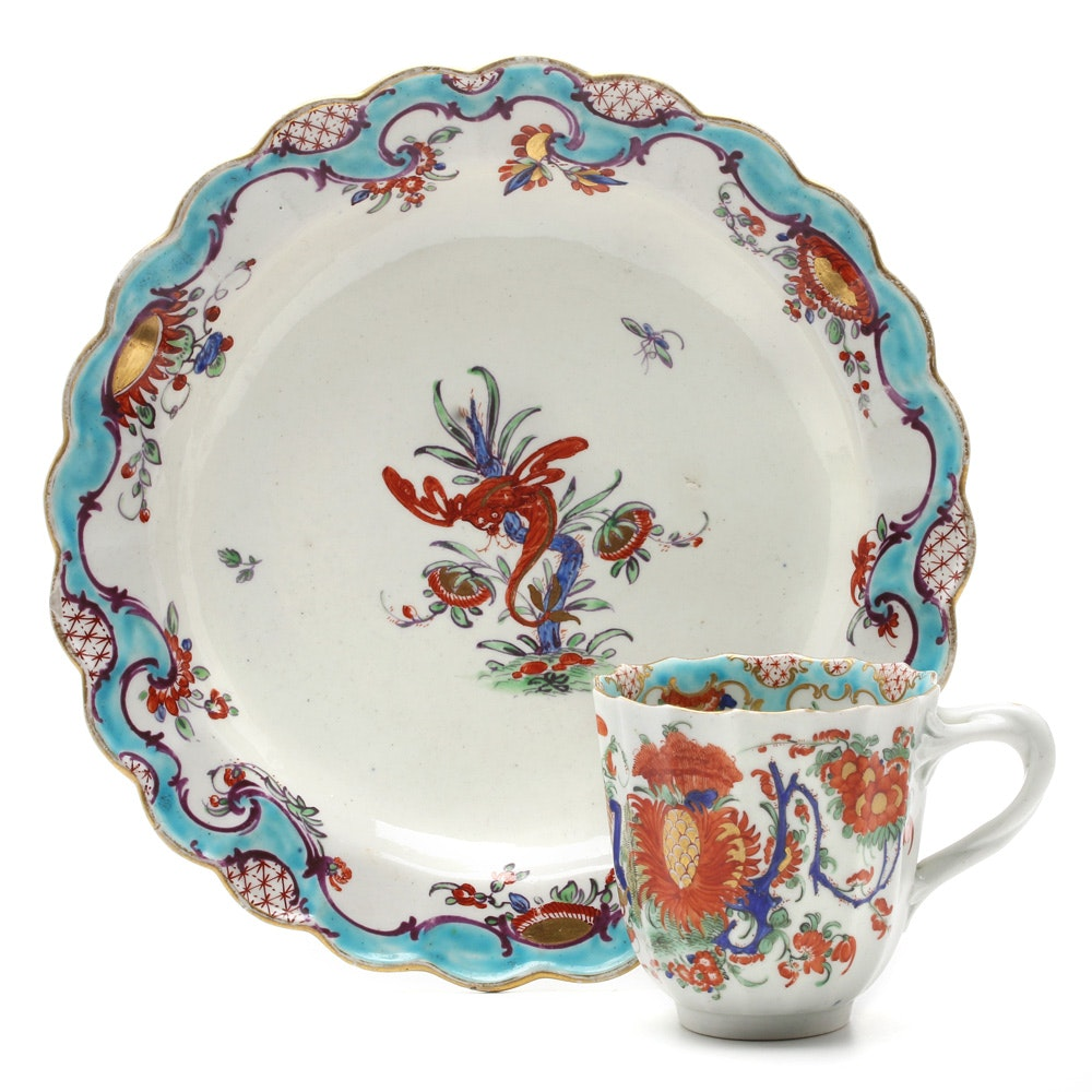 """Circa 1768 Worcester """"Jabberwocky"""" Porcelain Cup and Plate"""