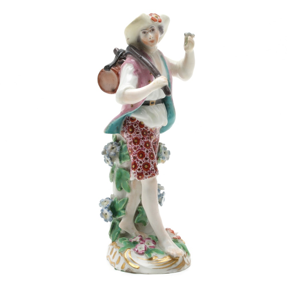Circa 1756-69 Chelsea Porcelain Hand-Painted Male Figurine