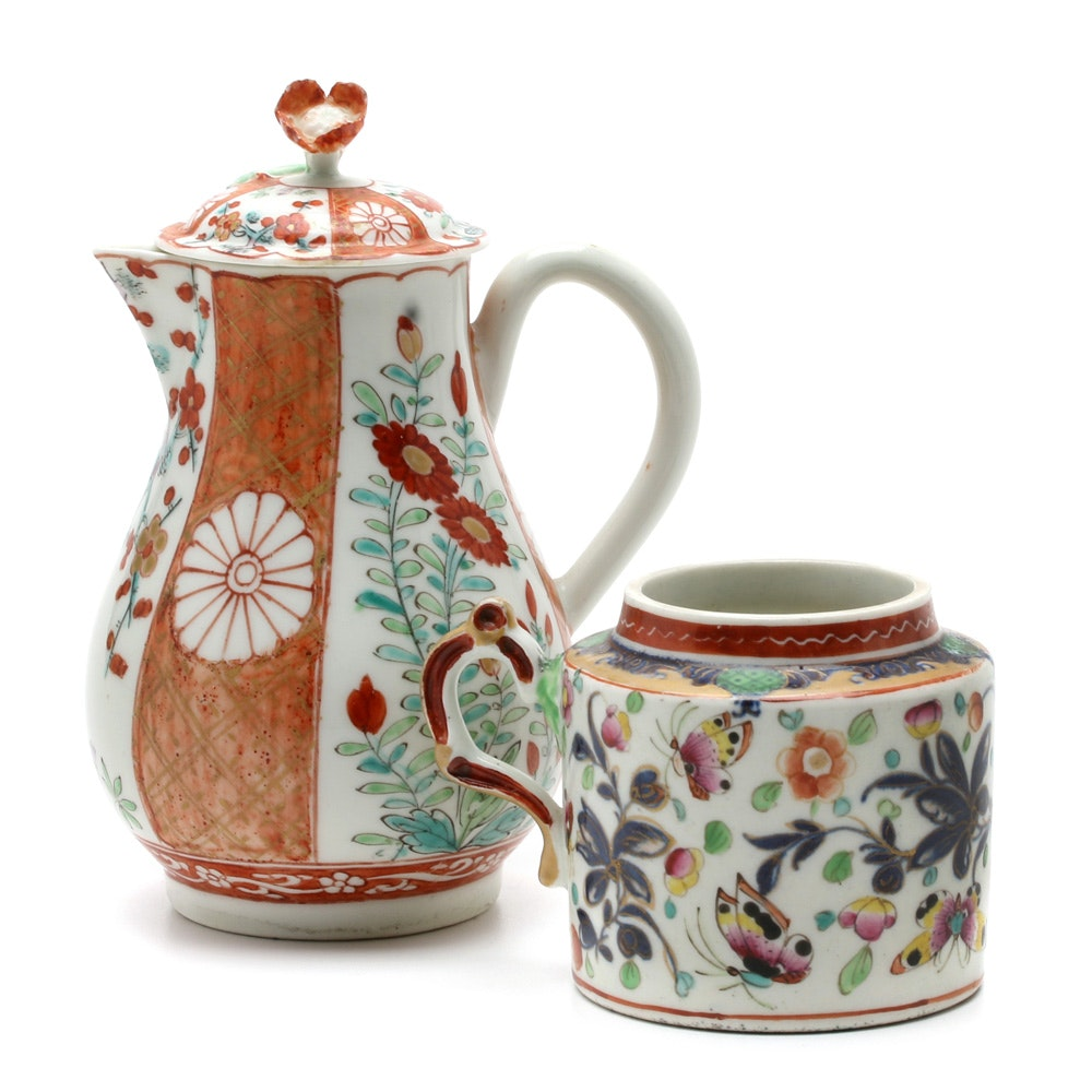"Worcester ""Scarlet Japan"" Sparrow Beak Jug and Mustard Pot"