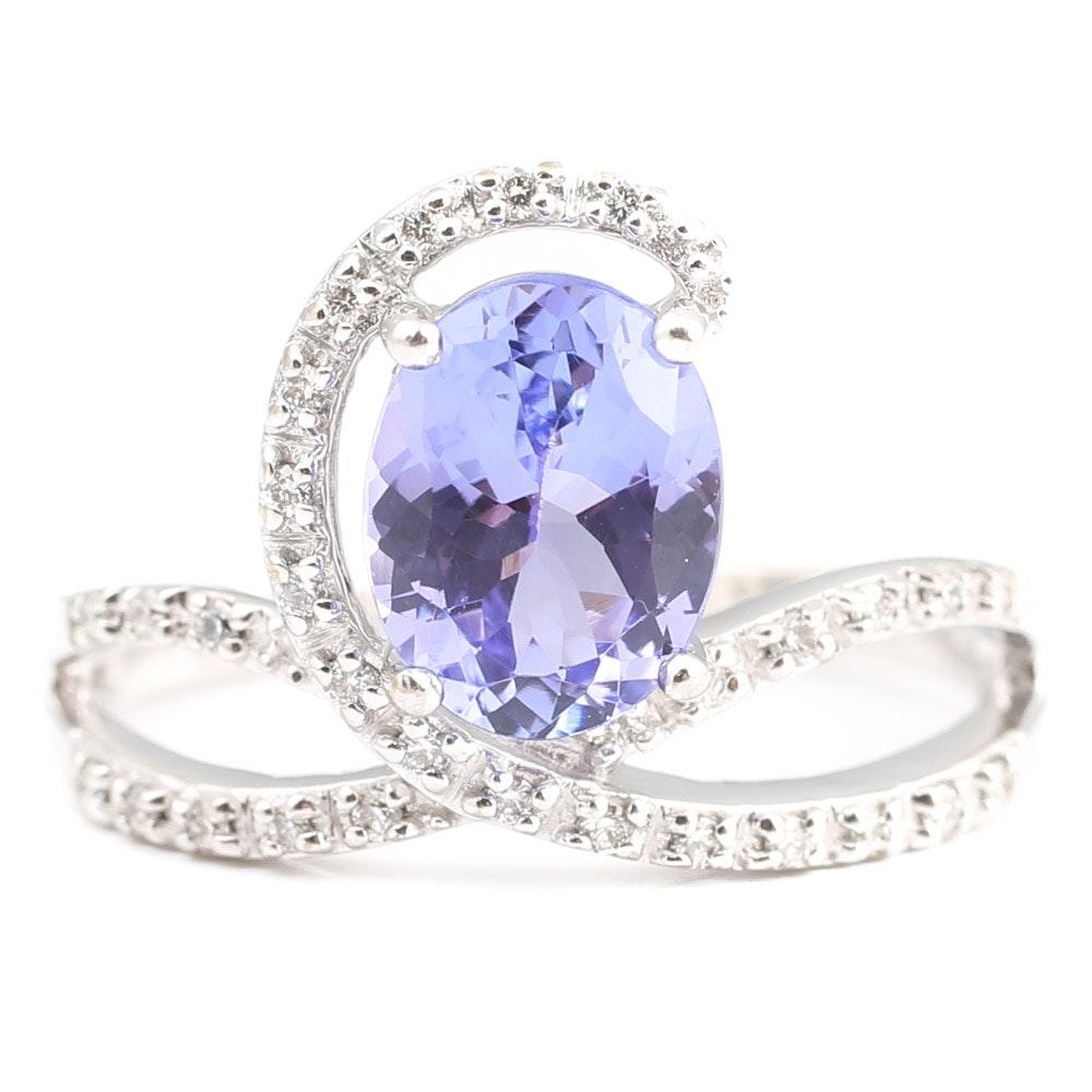 18K White Gold, Tanzanite, and Diamond Ring