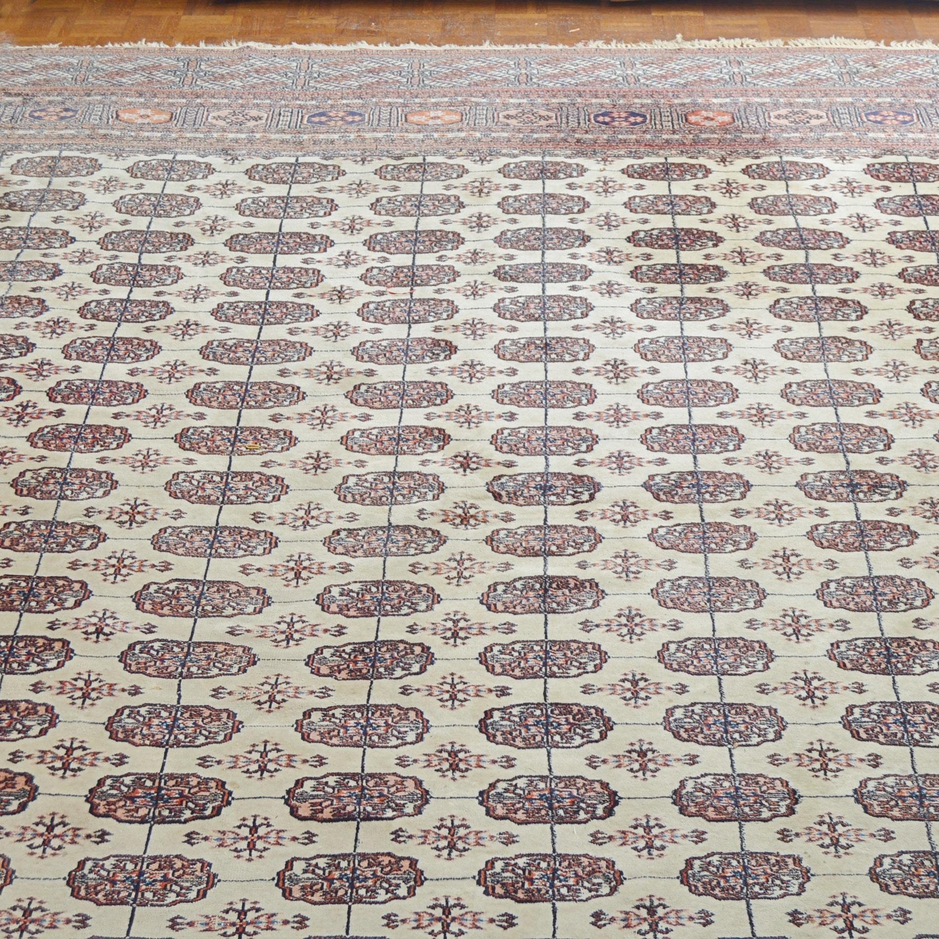 Hand-Knotted Pakistani Bokhara Wool Area Rug