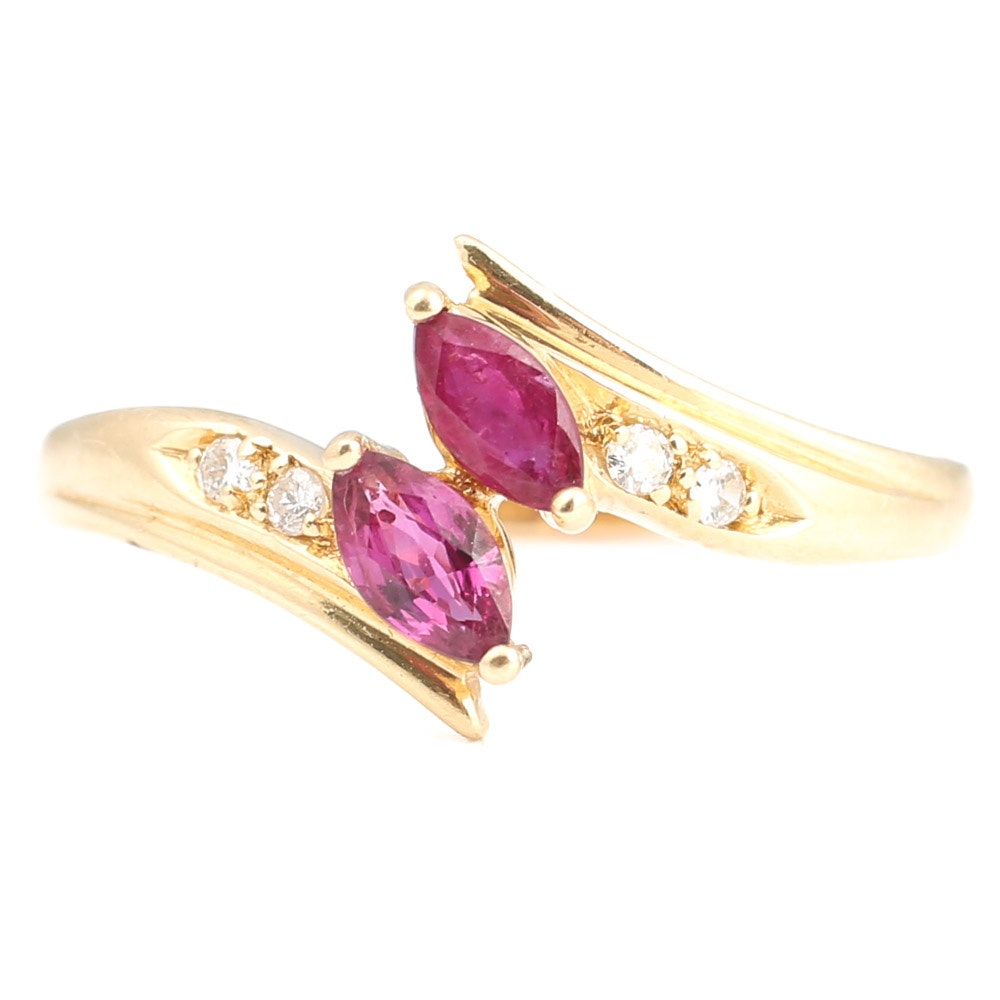 14K Yellow Gold, Ruby, and Diamond Ring
